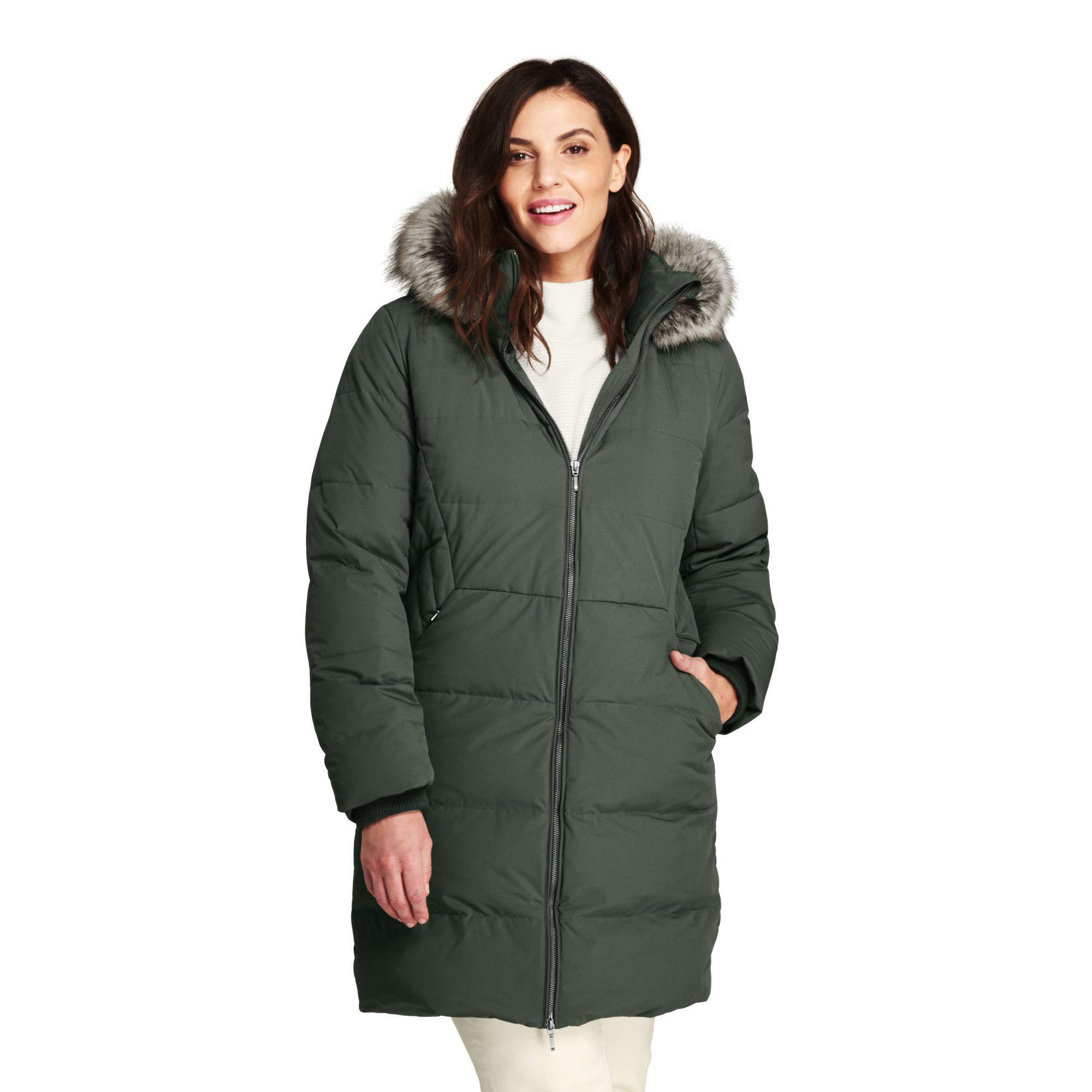 8ecb97dc8b9ca Lands  End Green Plus Faux Fur Hooded And Lined Down Coat With ...