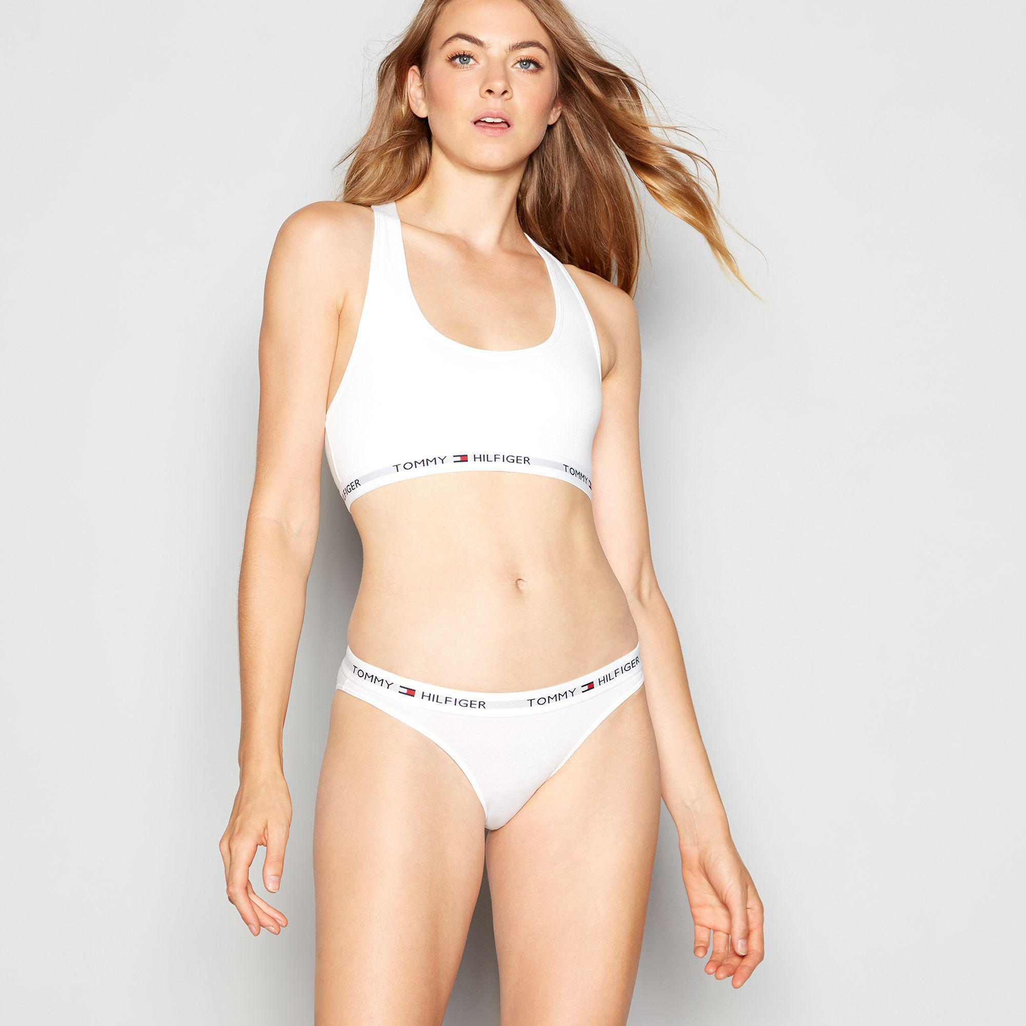 080121d7d09ba Tommy Hilfiger White  iconic  Cotton Bralette in White - Lyst