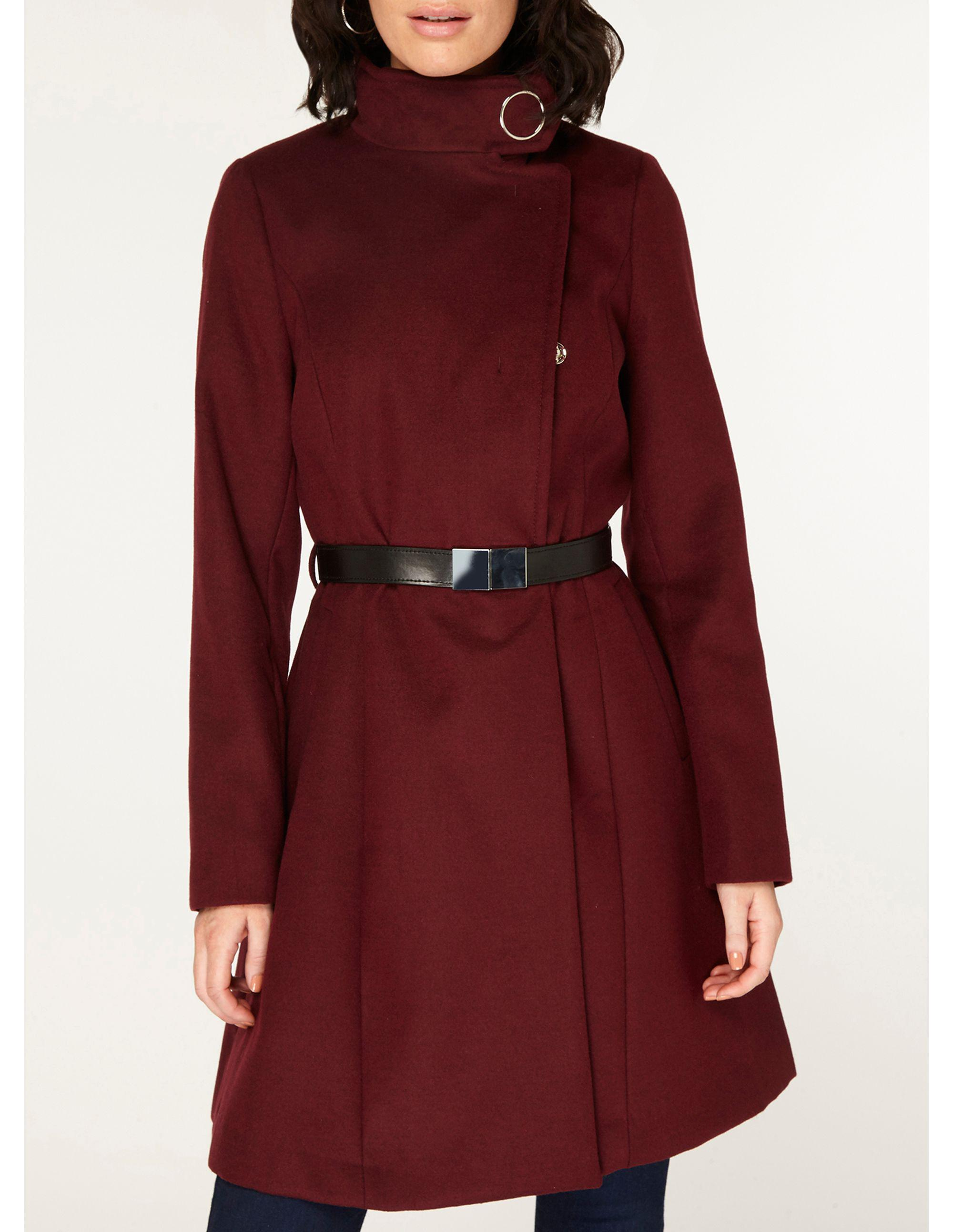 1368f1cda64 Dorothy Perkins Port Longline Funnel Duster Coat in Red - Save 38 ...