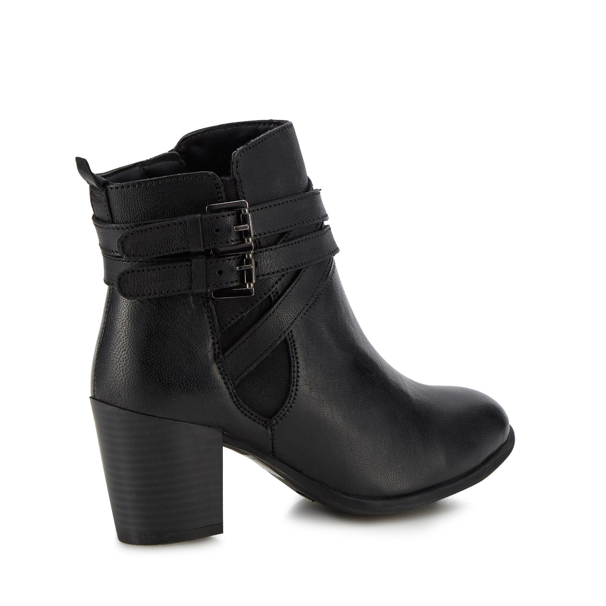 f4ccebedb1da Lotus - Black Leather  Taggerty  Mid Block Heel Ankle Boots - Lyst. View  fullscreen