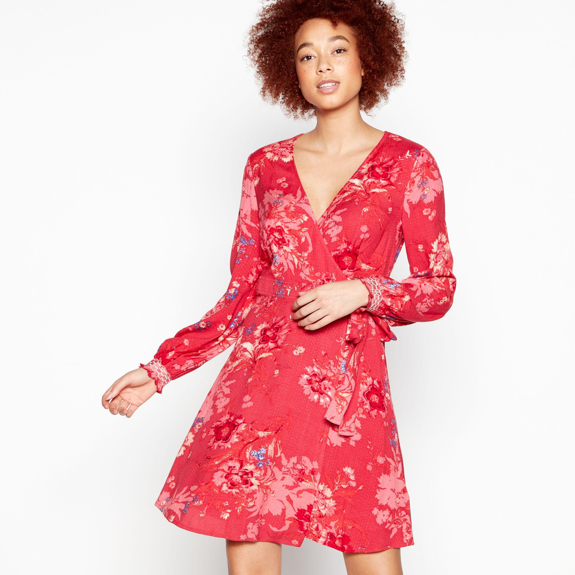 4dd514acb6c Red Herring Red Floral Print  delilah  Knee Length Wrap Dress in Red ...