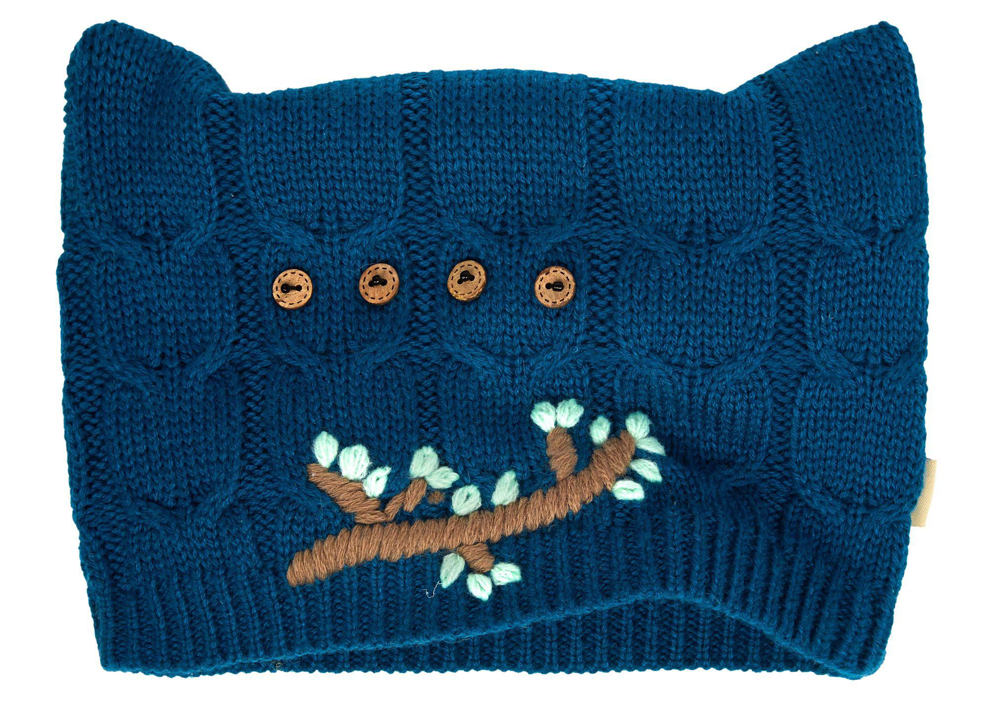 1b6e863f184 Yumi  Blue Embroidered Owl Knitted Hat in Blue - Lyst