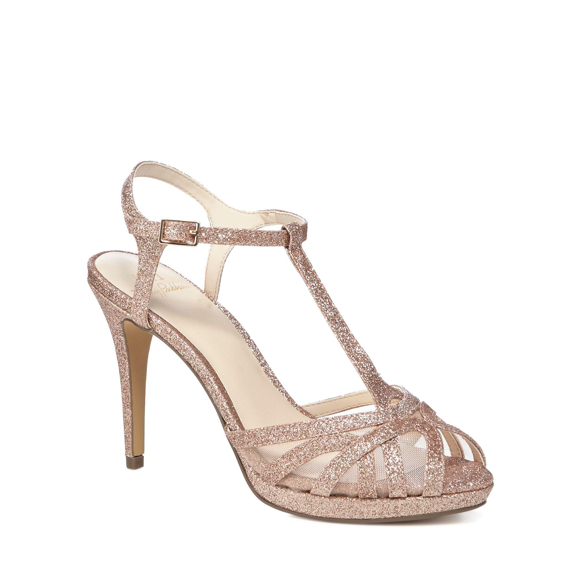 afd9fe94d Jenny Packham Rose Gold Glitter  polly  High Stiletto Heel T-bar ...