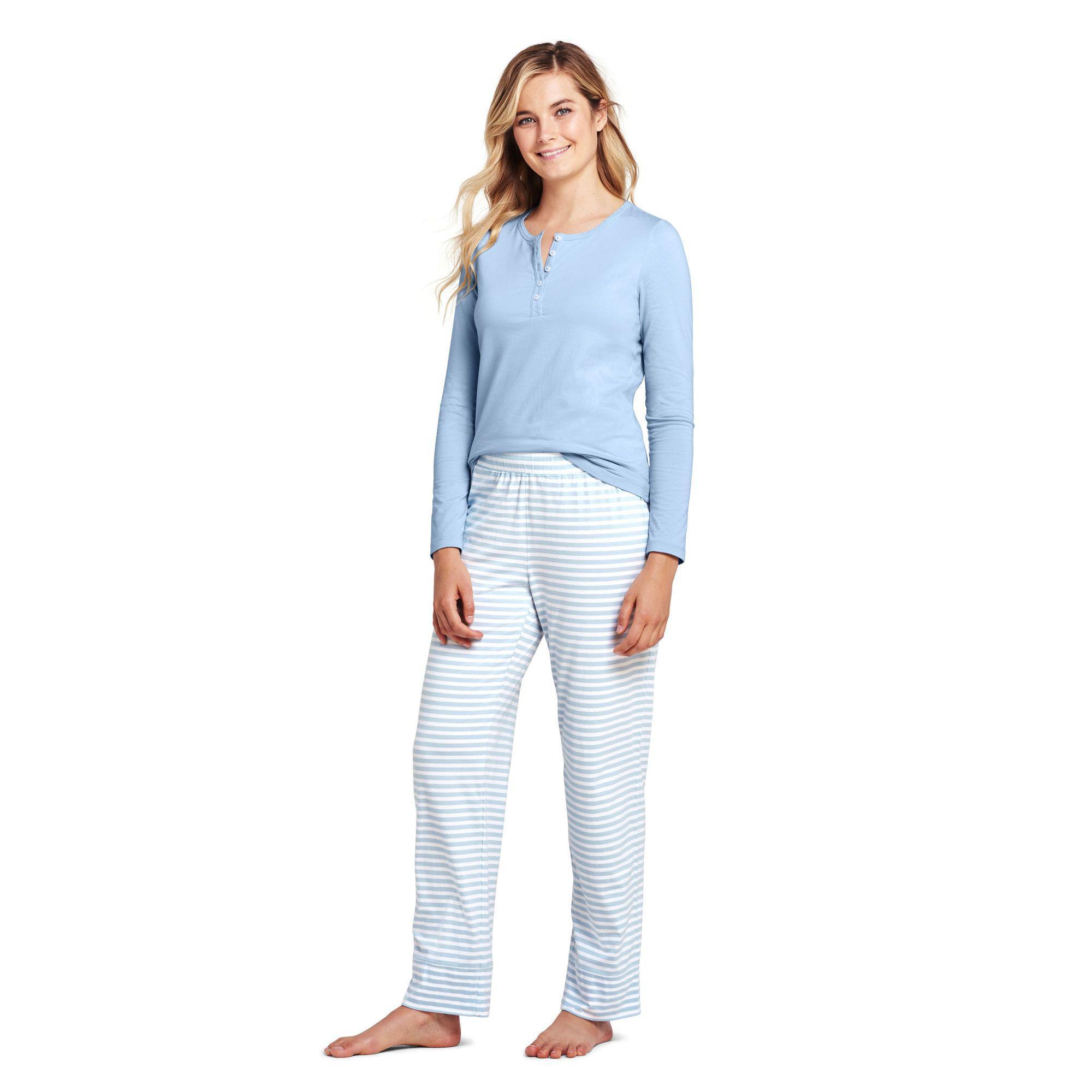 c4407fd24b Lands  End Blue Petite Patterned Cotton Modal Pyjama Set in Blue ...