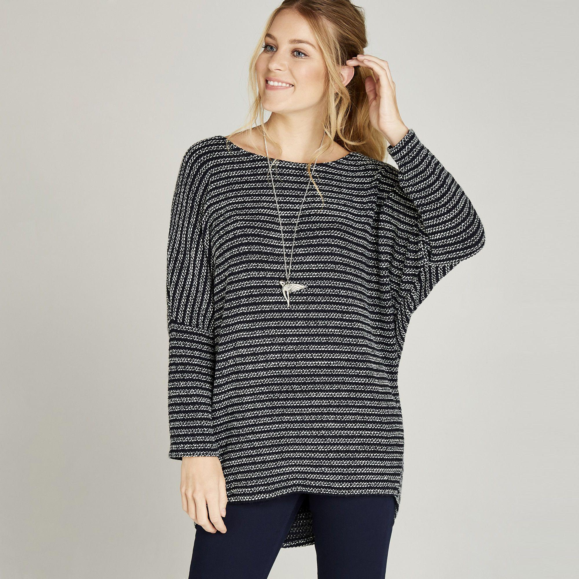 ae84fdeb720cbd Apricot Navy Textured Stripe Oversized Top in Blue - Lyst