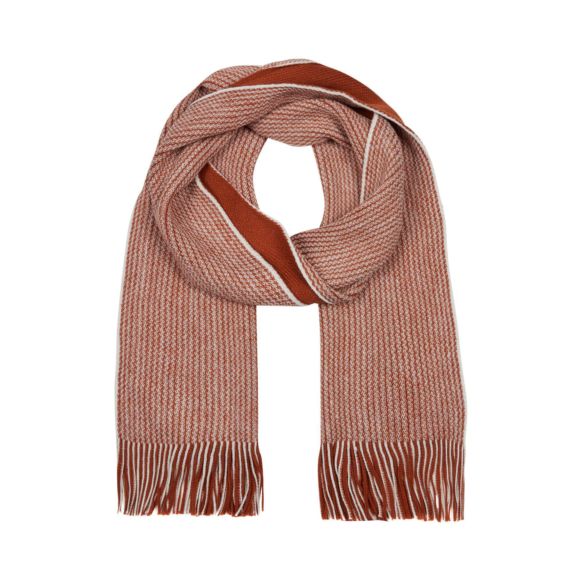 Red Herring Dark Orange Reversible Twist Knit Scarf in