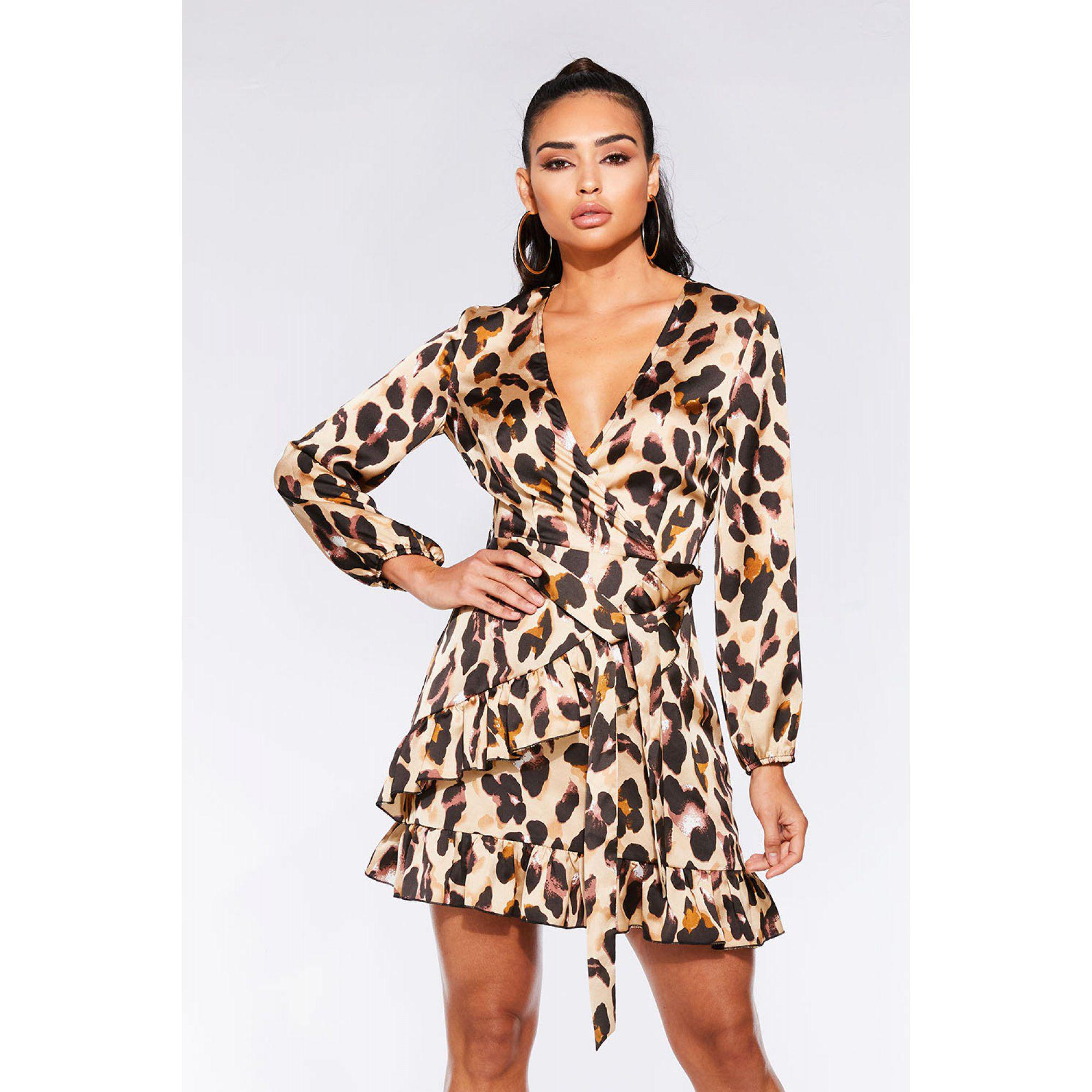 145ca16a6e Quiz Stone And Black Satin Leopard Print Wrap Dress in Black - Lyst