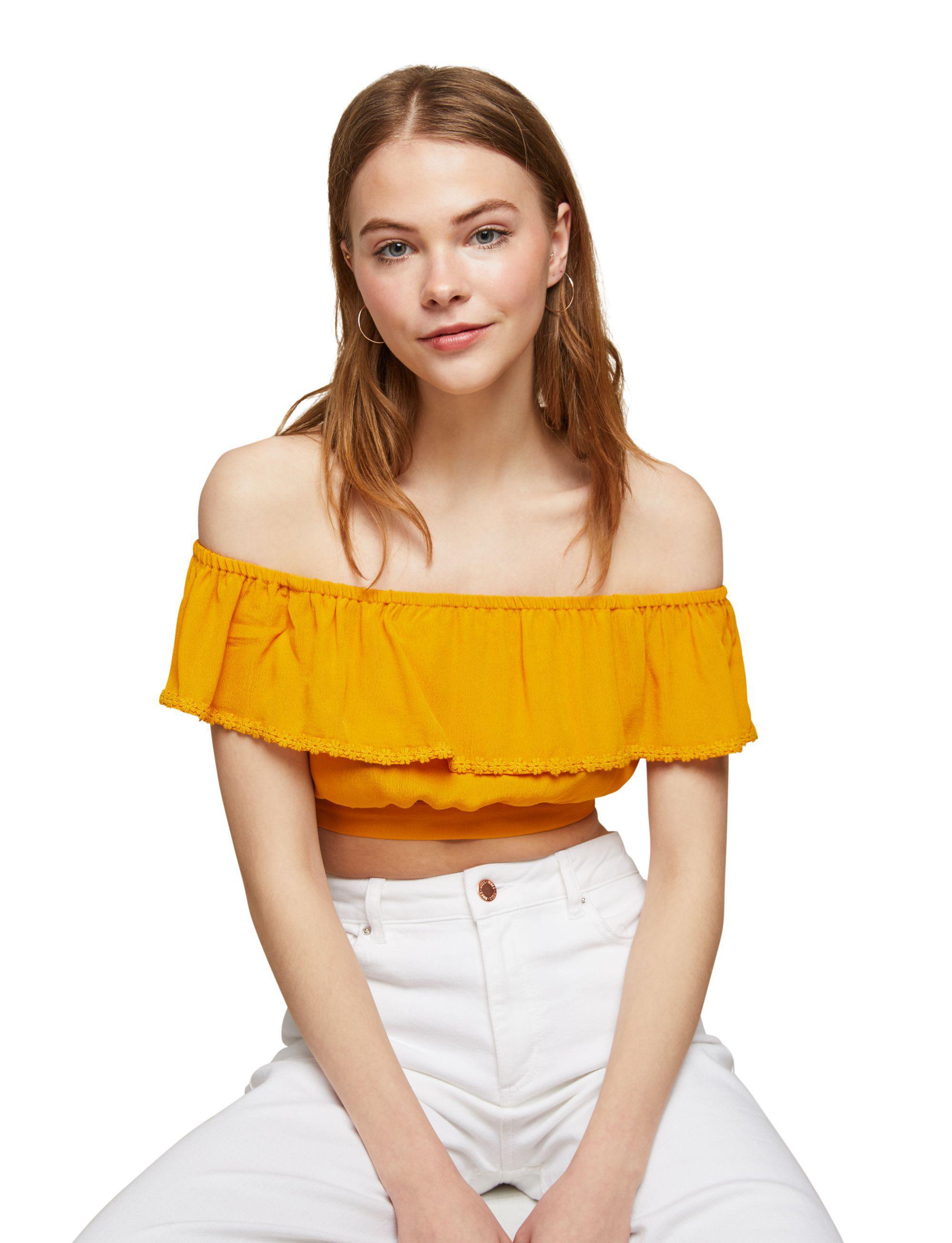 c14d2d9b5ddf3 Miss Selfridge Petite Ochre Bardot Crop Top in Yellow - Lyst