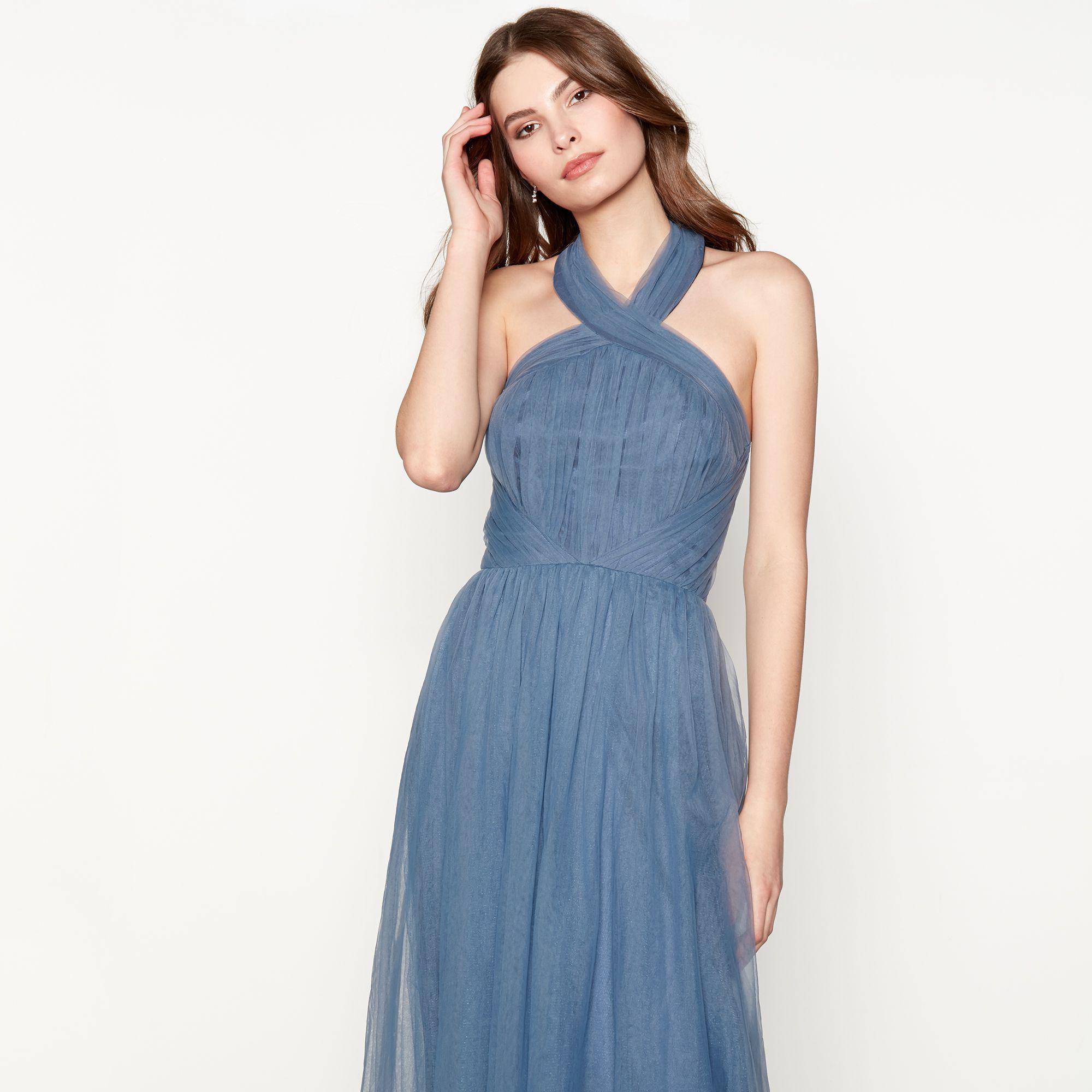 Chi Chi London Blue Chiffon \'alessia\' Halterneck Full Length Prom ...