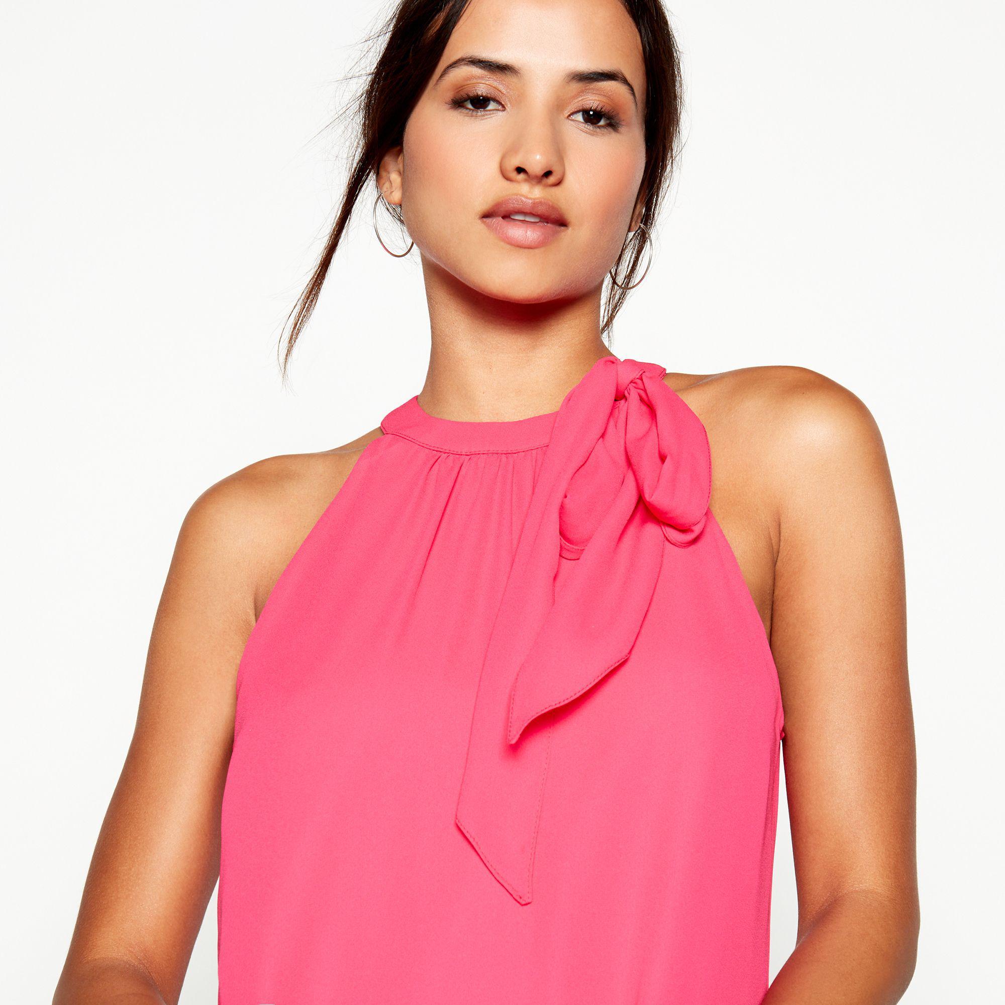 1d967455929 Début - Bright Pink Tie Neck  elsa  Chiffon Knee Length Swing Dress - Lyst.  View fullscreen