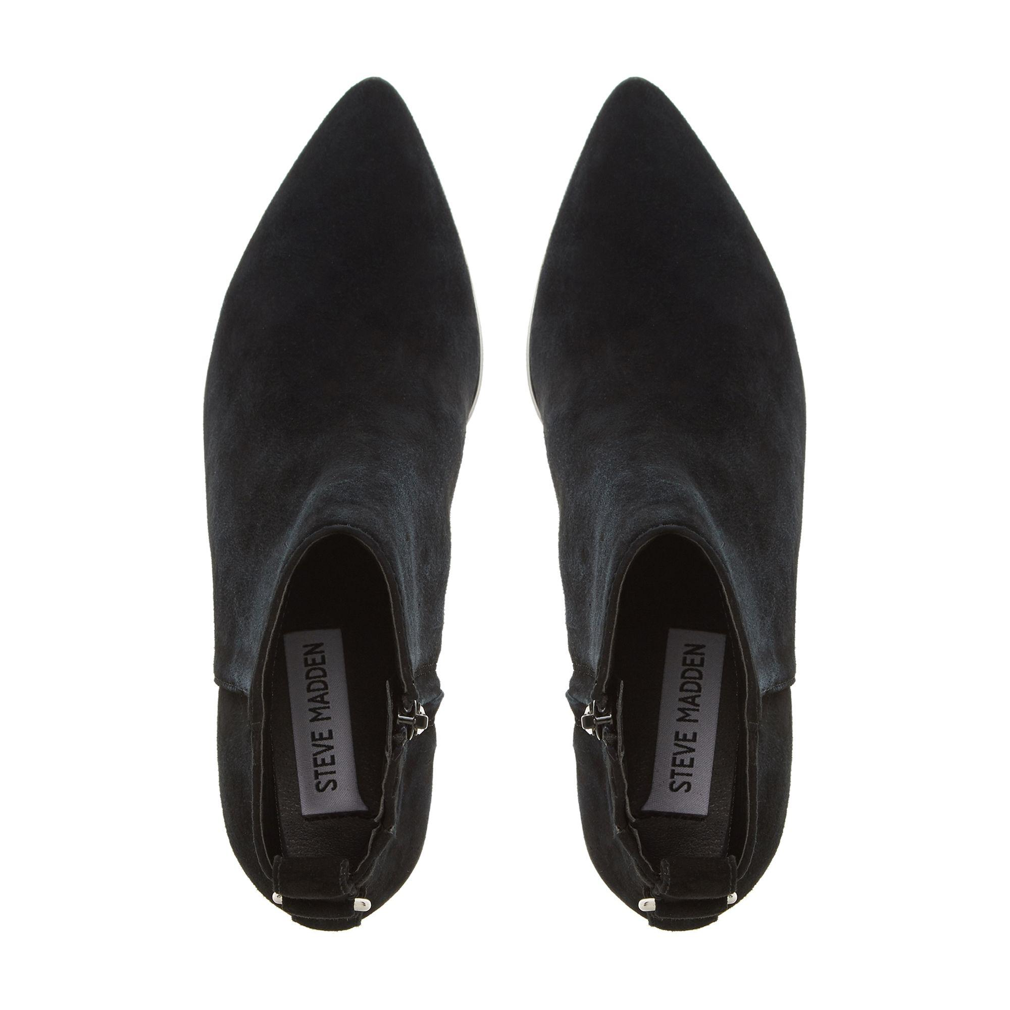 6ef352c8214 Steve Madden Black Suede  clover   Mid Block Heel Ankle Boots in ...