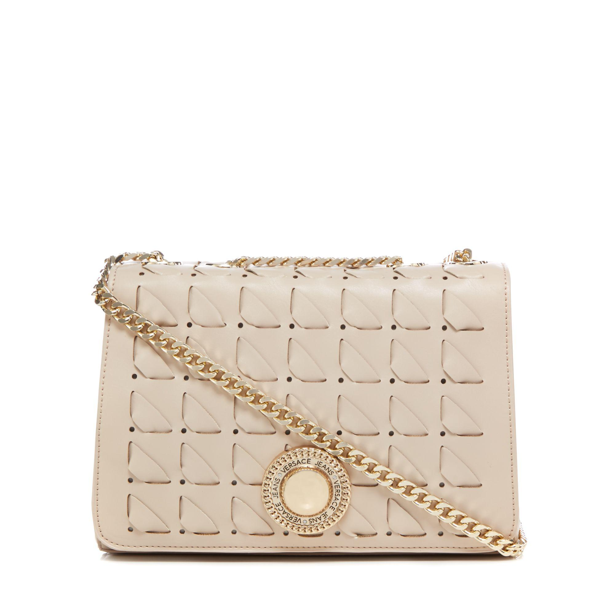 Versace Jeans Cream Interlace Cross Body Bag in Natural - Lyst 6508999cd5f12