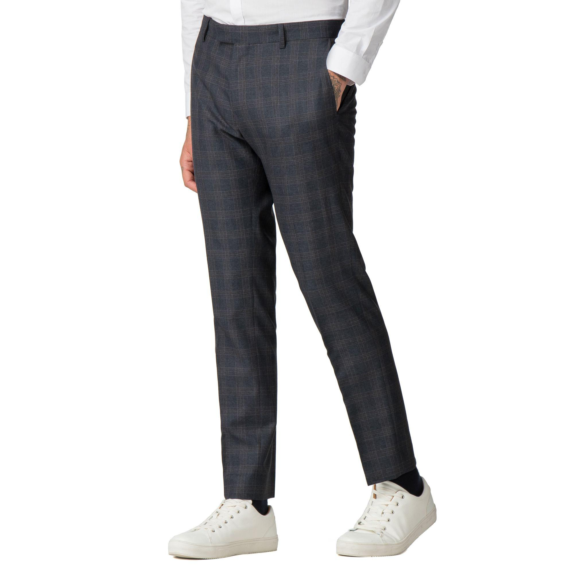 518057d0a2e9 Red Herring Navy Rust Overcheck Skinny Fit Suit Trousers in Blue for ...
