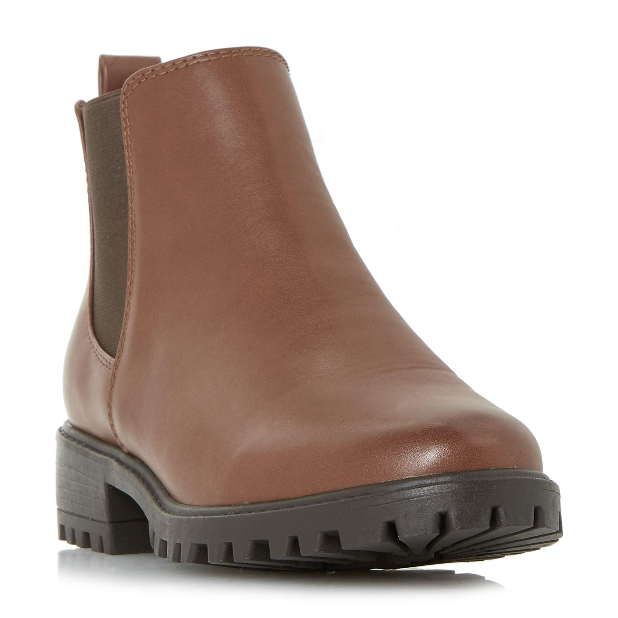 75321050efe Dune Tan  portiaa  Cleated Sole Chelsea Ankle Boots in Brown - Lyst