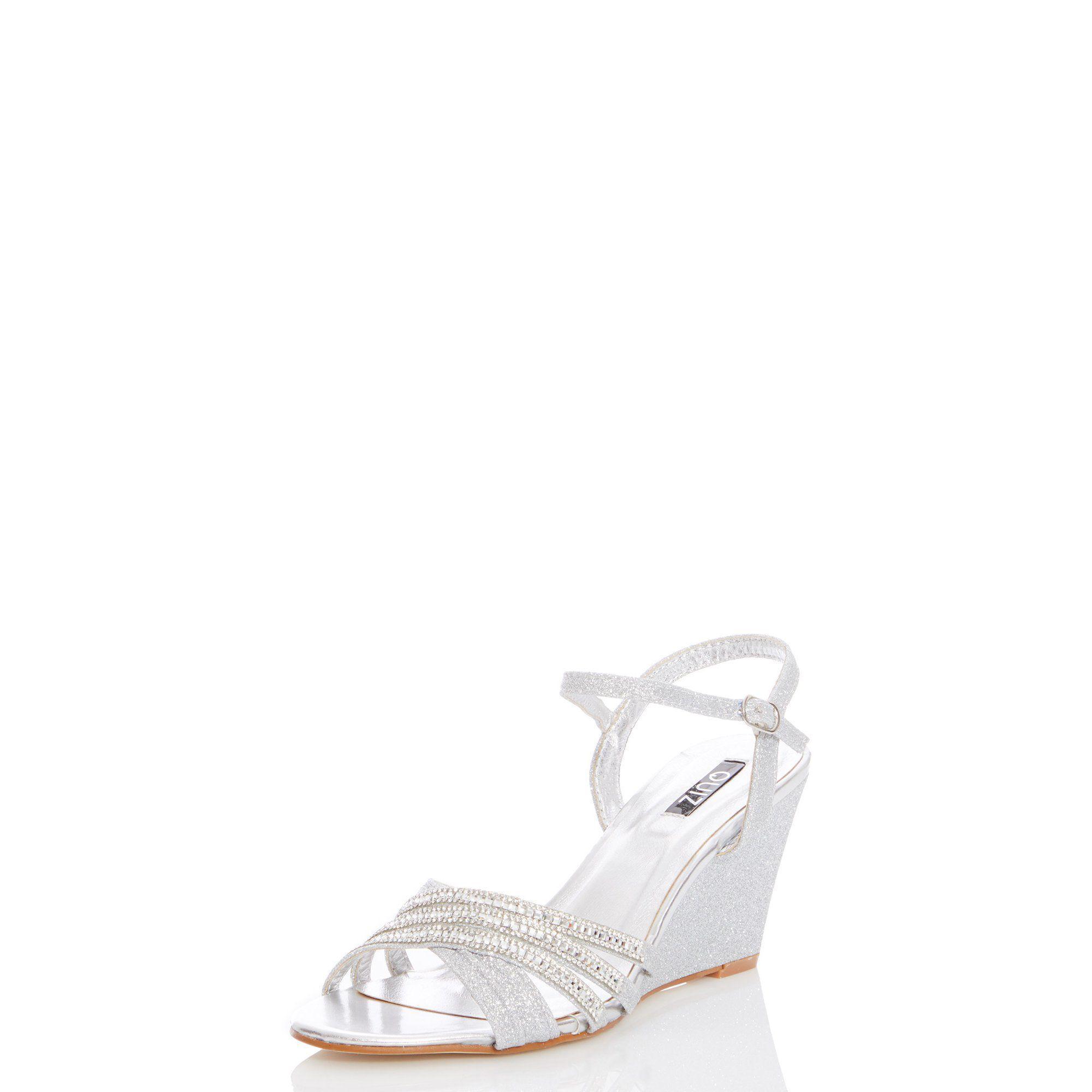 0eab75e1d41 Quiz - Metallic Silver Diamante Wedge Sandals - Lyst. View fullscreen