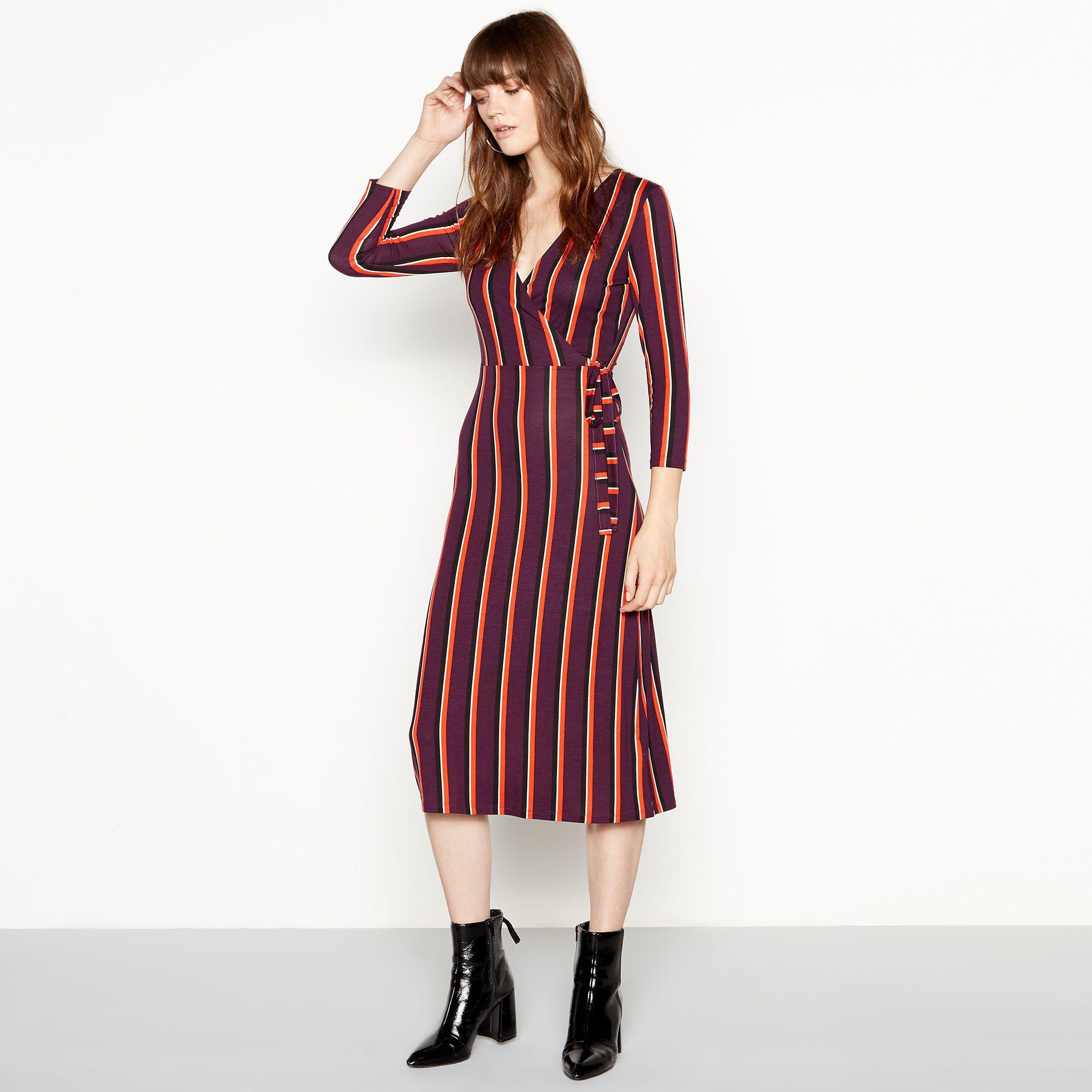 3c64786adc3 Red Herring Stripe Print Wrap Midi Dress in Red - Lyst