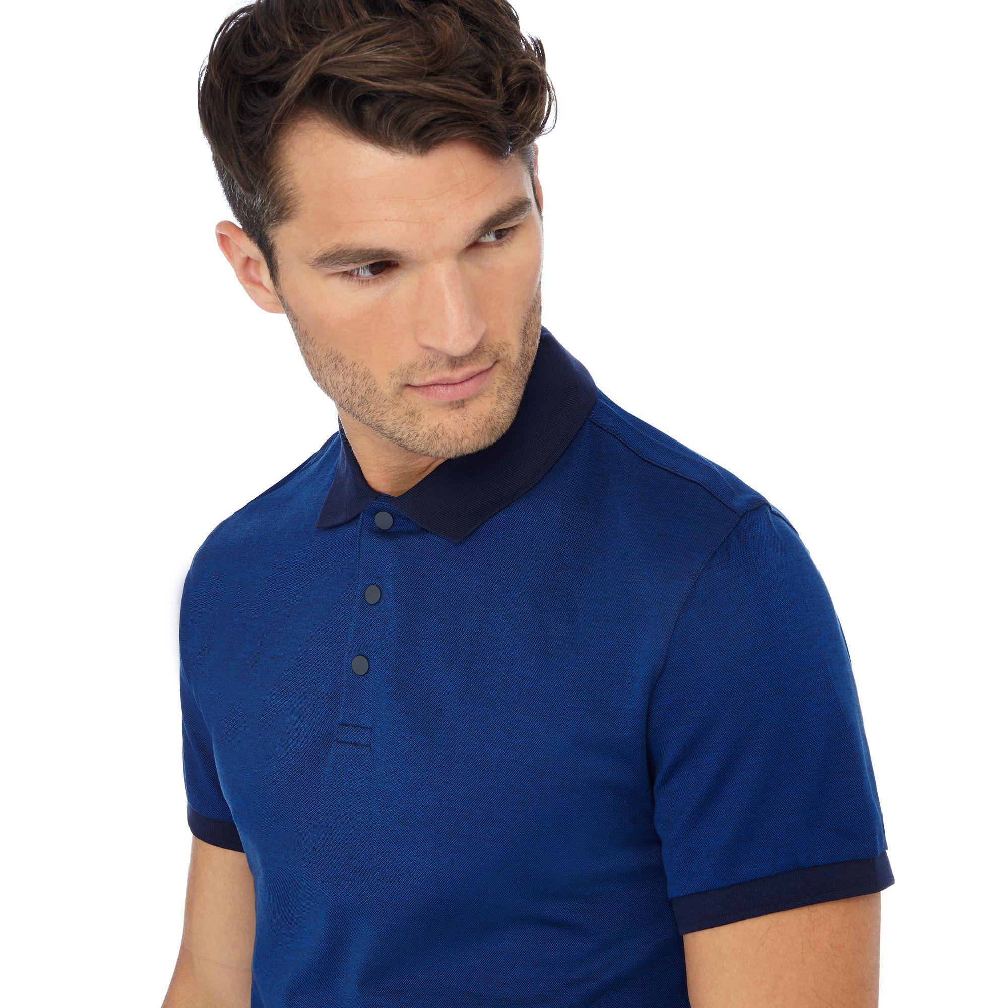 20341160278 J By Jasper Conran Big And Tall Royal Blue Contrast Collar Polo ...