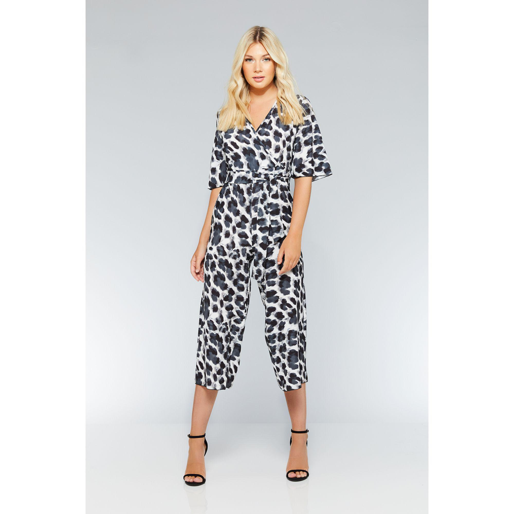 6214e4e9550 Quiz Black And Grey Leopard Print Wrap Jumpsuit in Gray - Lyst