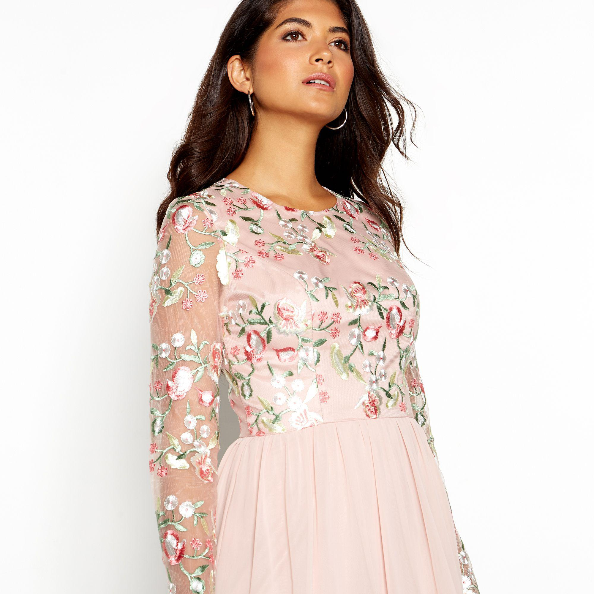 d4306a1dea9 Chi Chi London - Pale Pink Floral Embroidered Chiffon  bee  Round Neck Long  Sleeve. View fullscreen