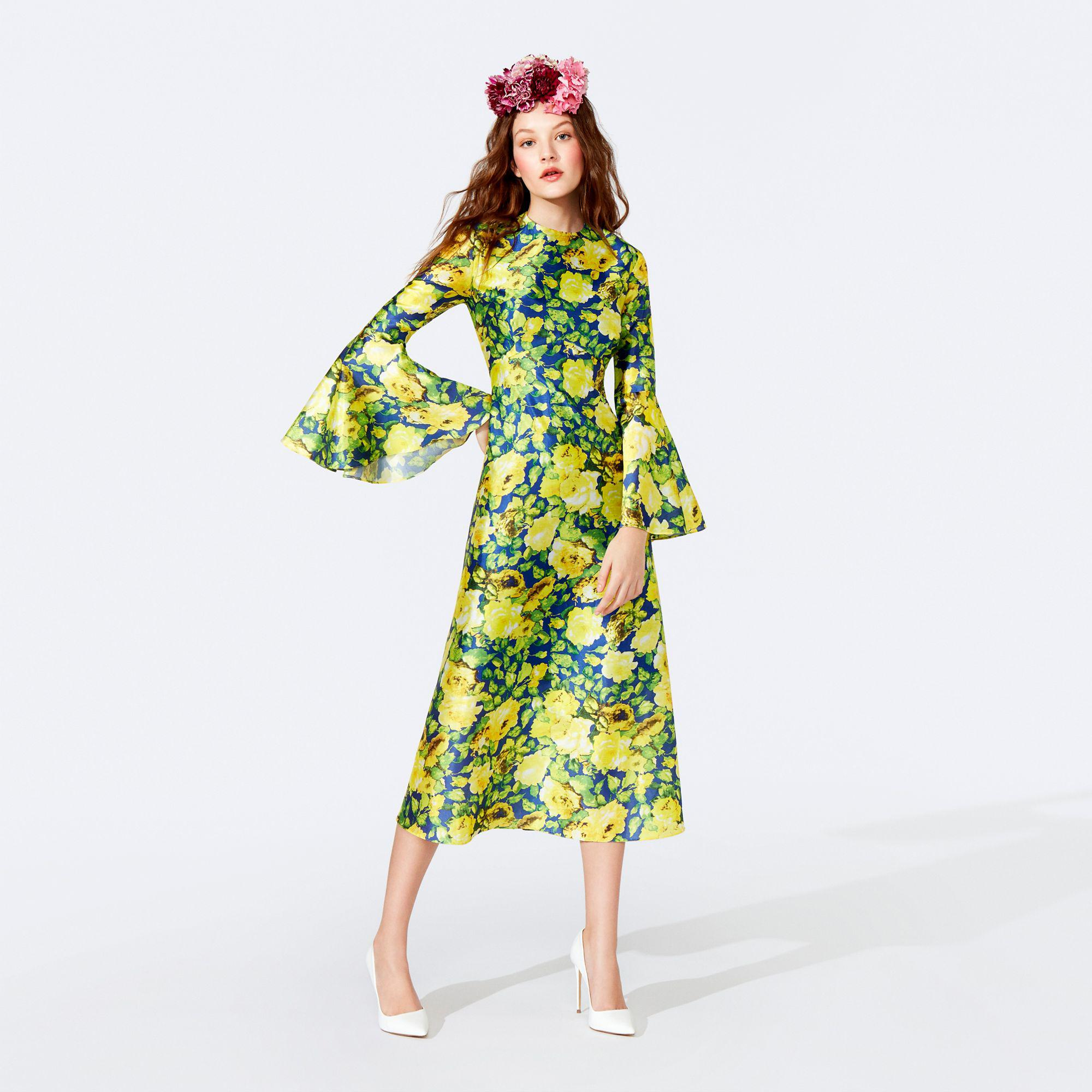 8393bd5bea31b4 Richard Quinn - Yellow Floral Print Round Neck Fluted Sleeve Midi Dress -  Lyst. View fullscreen