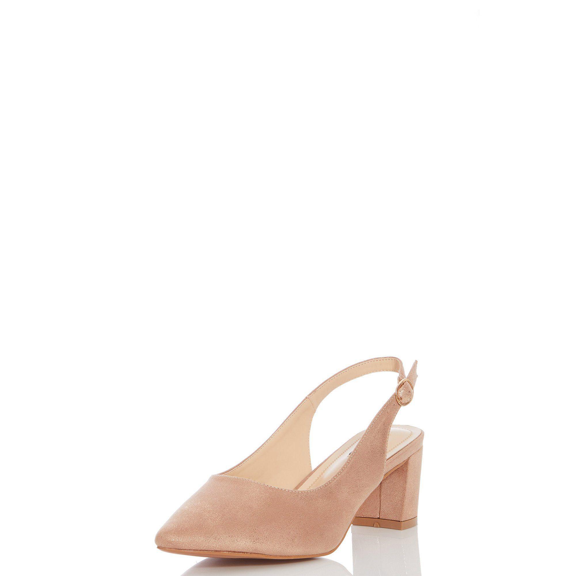 0d7656c1e18a Quiz - Metallic Camel Shimmer Slingback Low Heel Shoes - Lyst. View  fullscreen