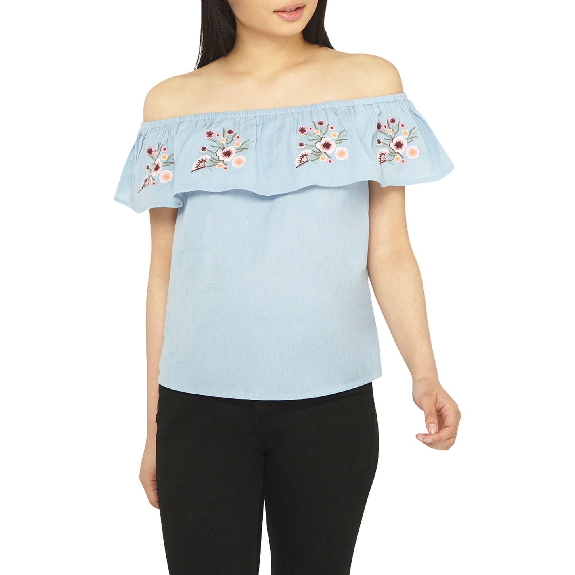 b09771f6f8d2e Lyst - Dorothy Perkins Petite Chambray Embroidered Bardot Top in Blue