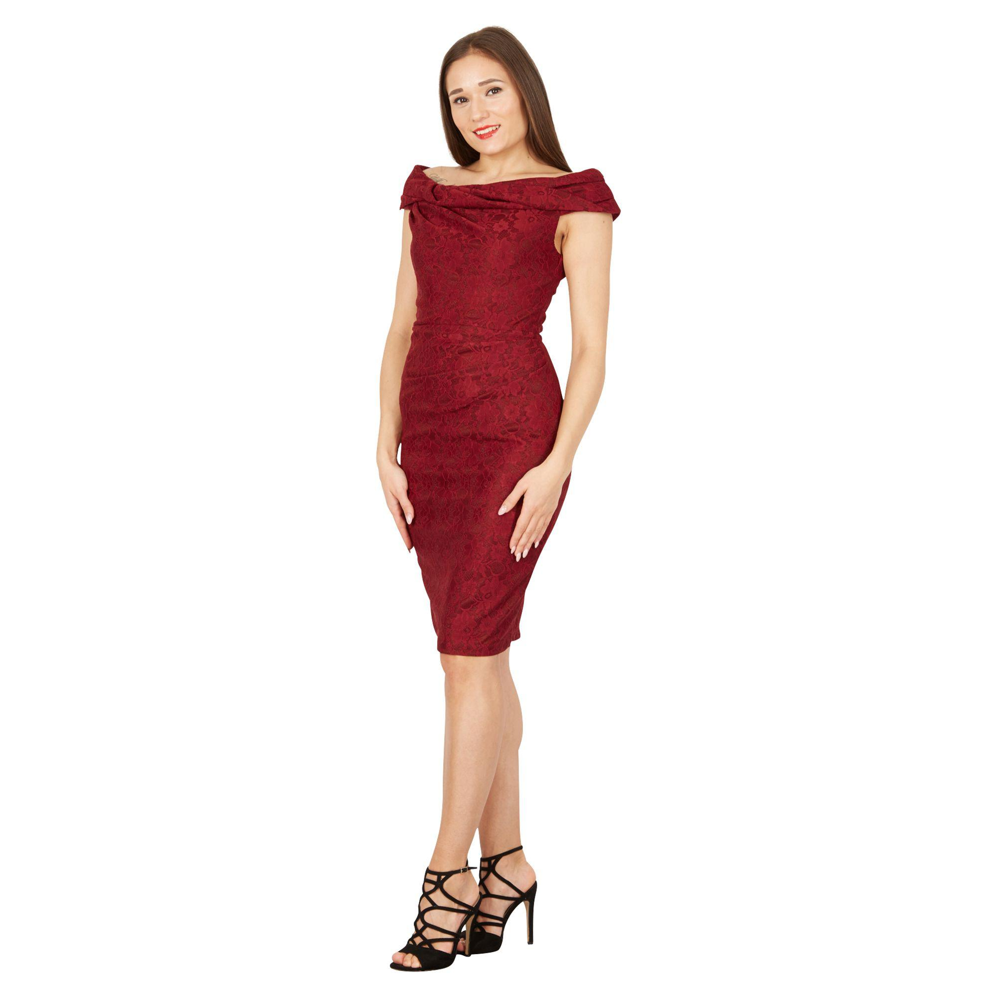 c3fddd10733e Jolie Moi Maroon Lace Bonded Bardot Shift Dress in Red - Lyst