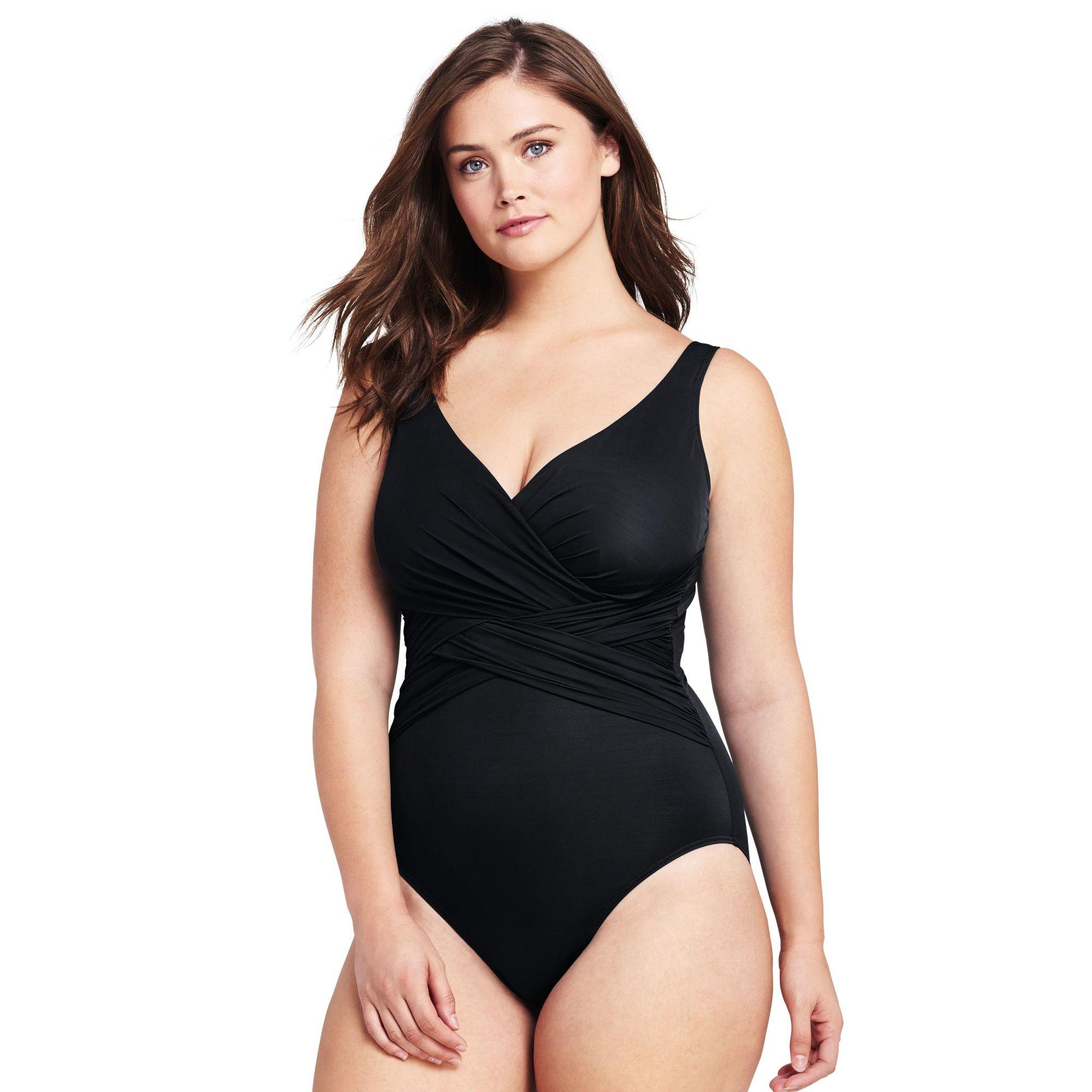 d58c6666fa2 Lands' End Black Plus Slender Wrap Front Swimsuit in Black - Lyst