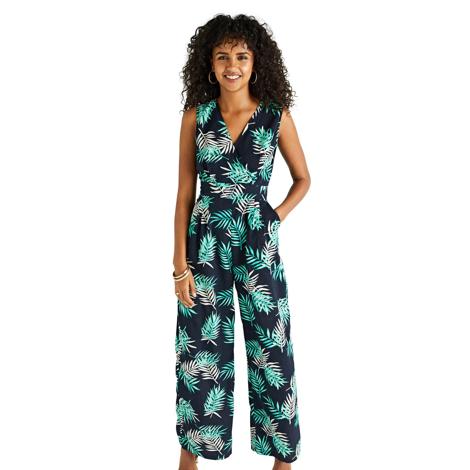 c537514a8c Yumi  Navy Palm Print Wrap Jumpsuit in Blue - Lyst