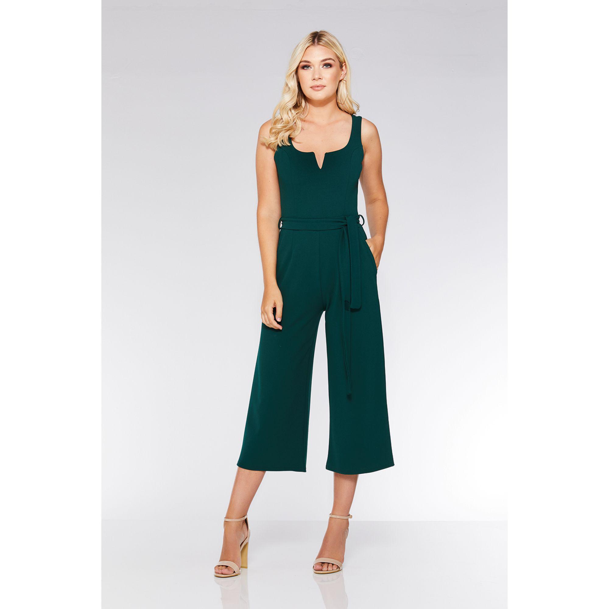 d0e12cf3286a Quiz Bottle Green V-bar Culotte Jumpsuit in Green - Lyst