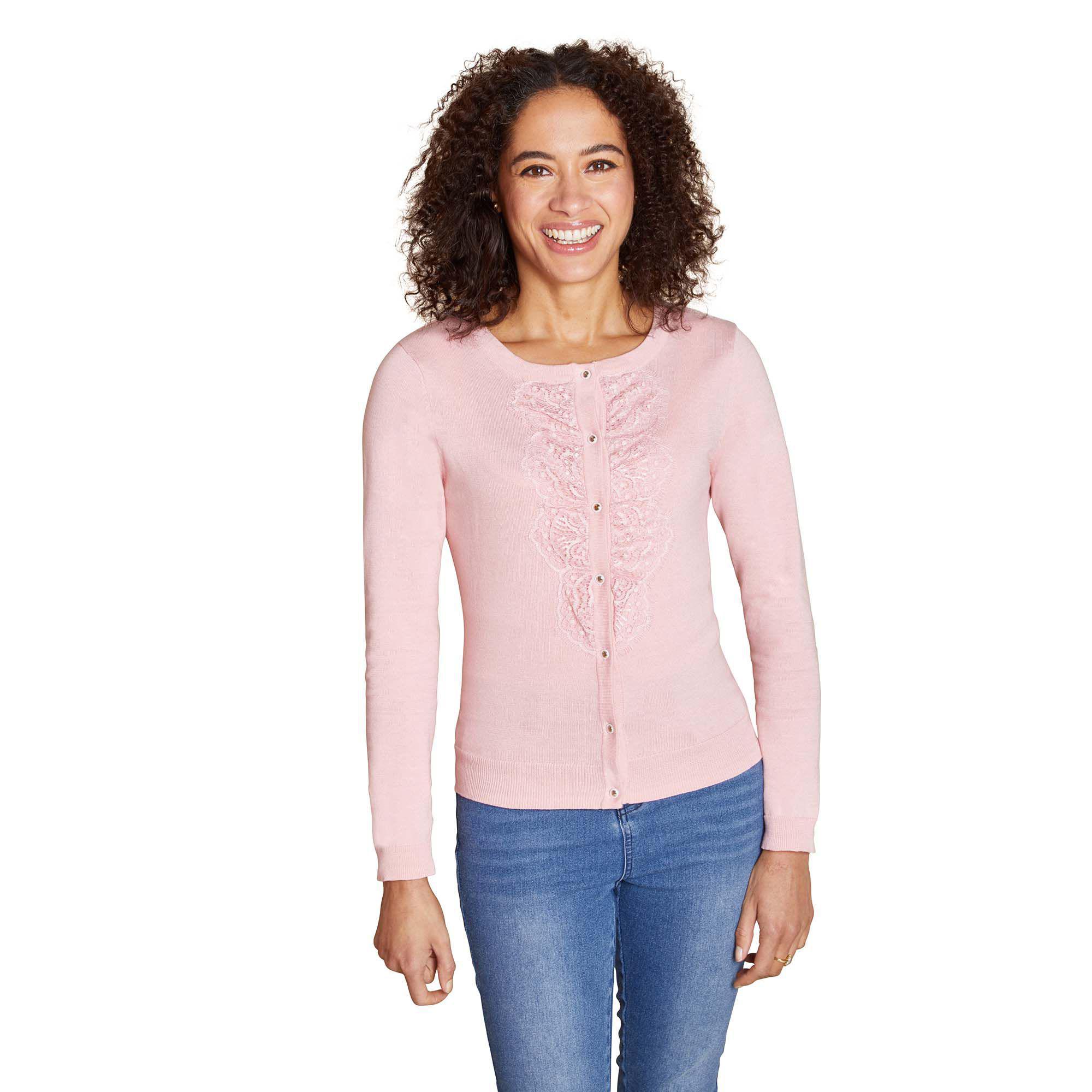 b263aebdf83 Yumi  Light Pink Floral Eyelash Lace Cardigan in Pink - Lyst