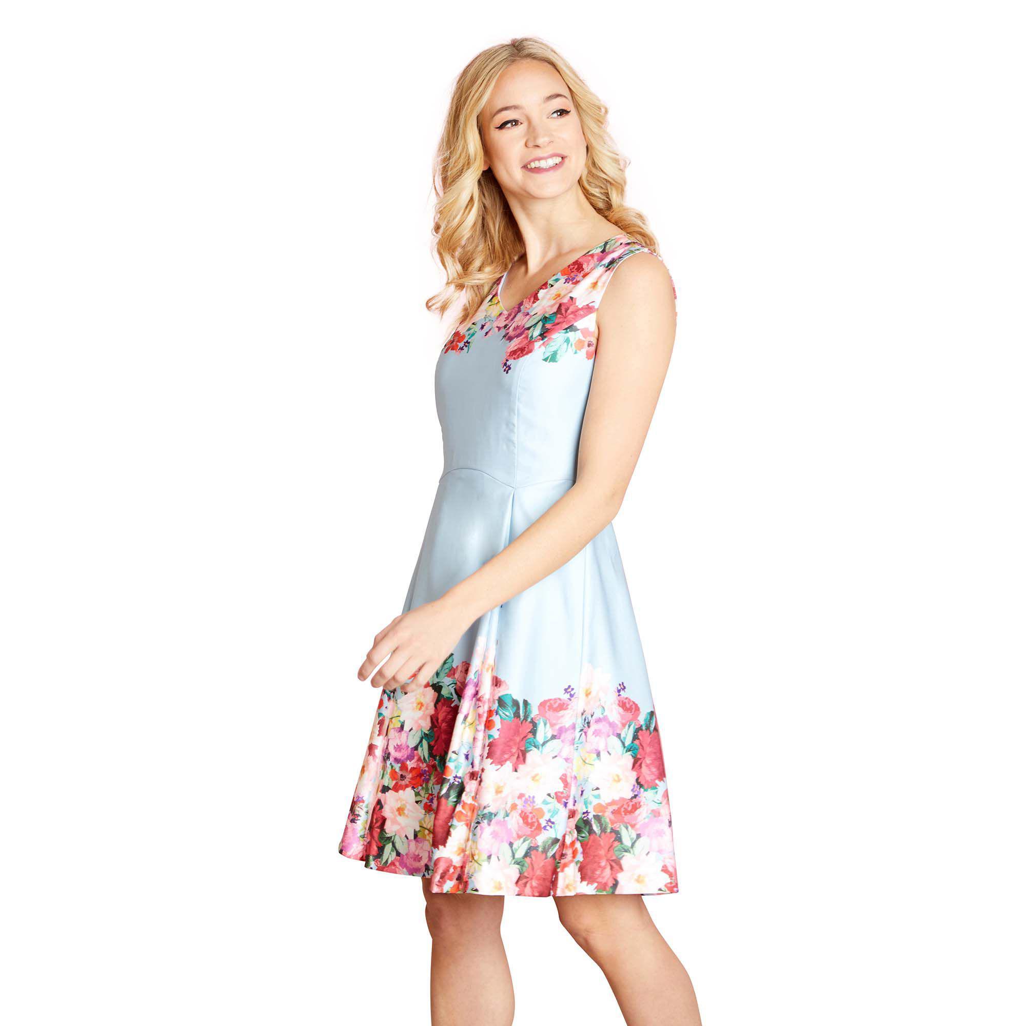 Yumi  Pale Blue Floral Print  paulina  Tunic Dress in Blue - Save 27 ... cda107dd6