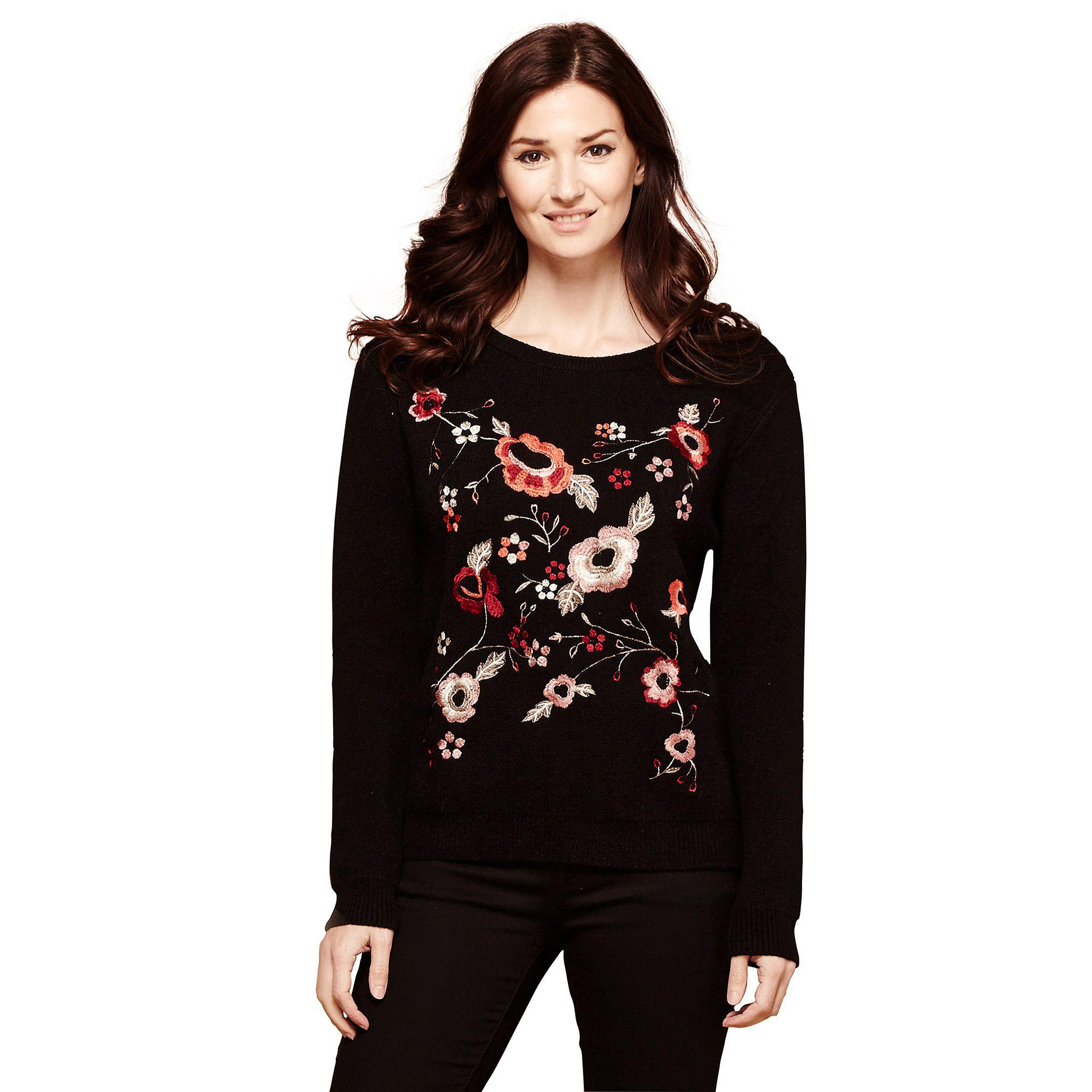 18d019cf2a Yumi  Black Embroidered Flower Panel Jumper in Black - Lyst