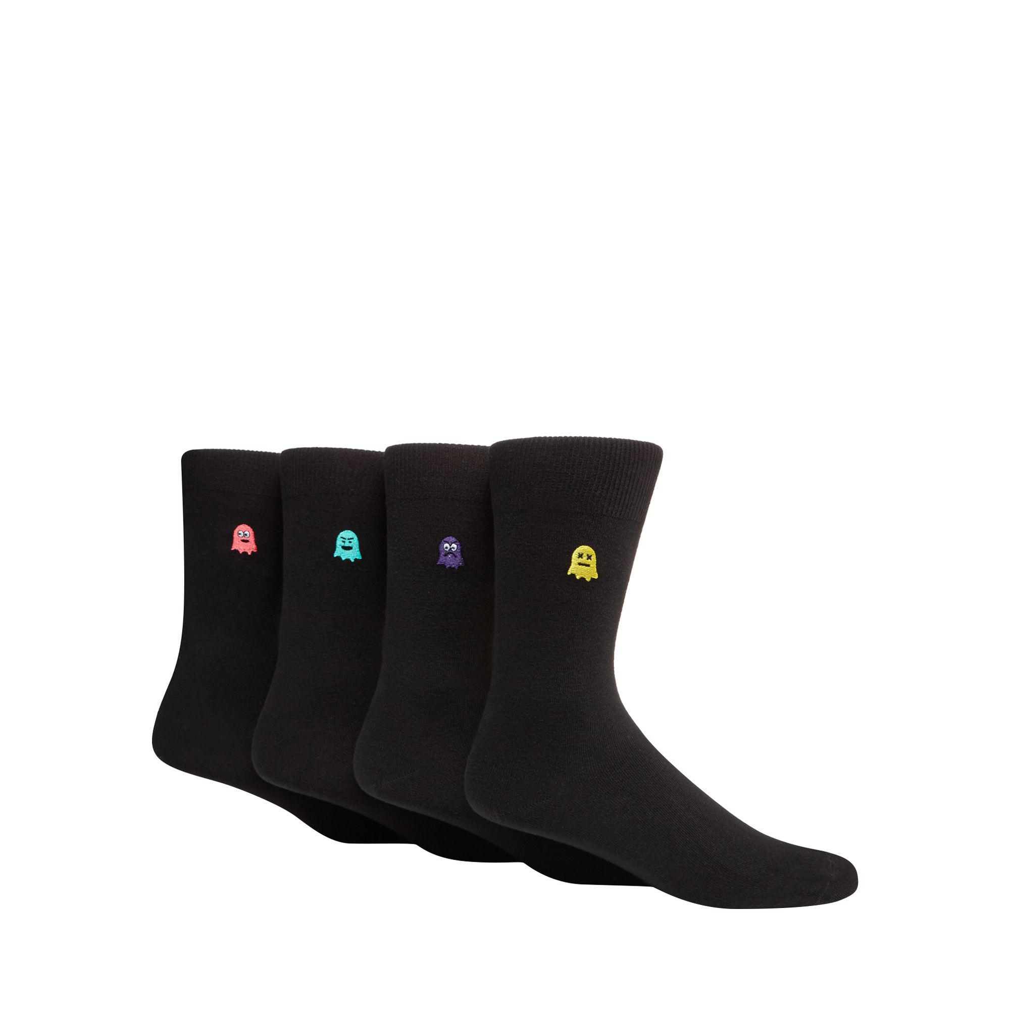Red Herring Pack Of Four Black Ghost Embroidered Socks in Black for ... 6b81188d2