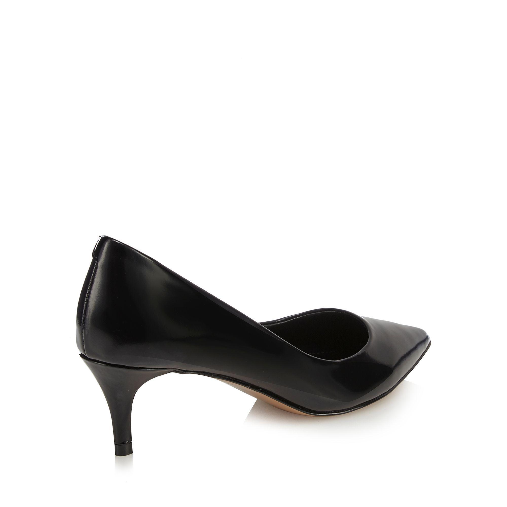 0ce9cfc5a3f J By Jasper Conran Black Leather  jess  Mid Kitten Heel Court Shoes ...