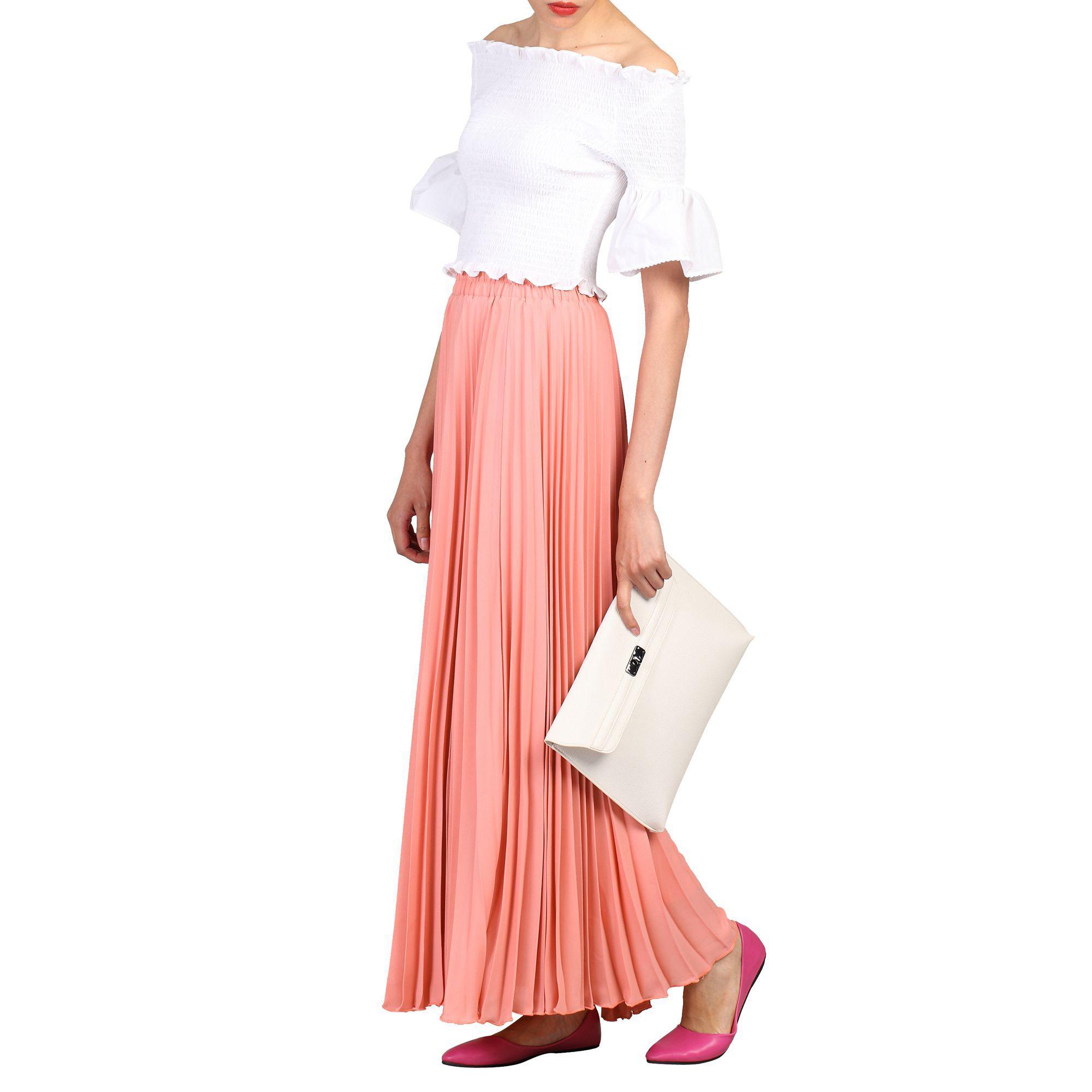 3b4b6cefc2 Jolie Moi Peach Crepe Pleated Maxi Skirt in Pink - Lyst