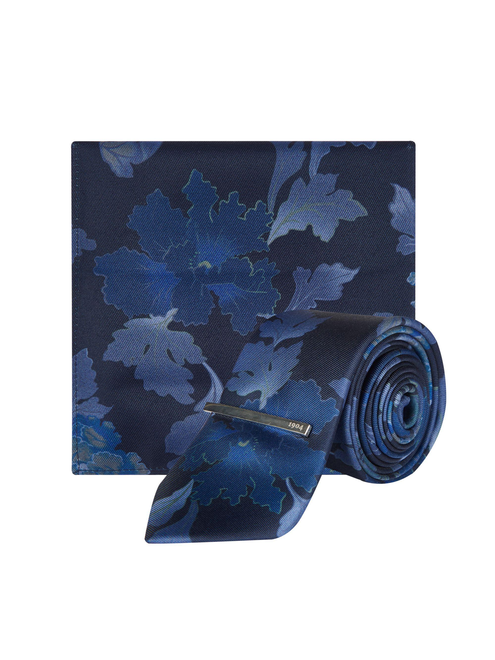 cd1b55ef7090 Burton - Blue 1904 Navy Floral Print Tie, Pocket Square And Clip Set for Men.  View fullscreen