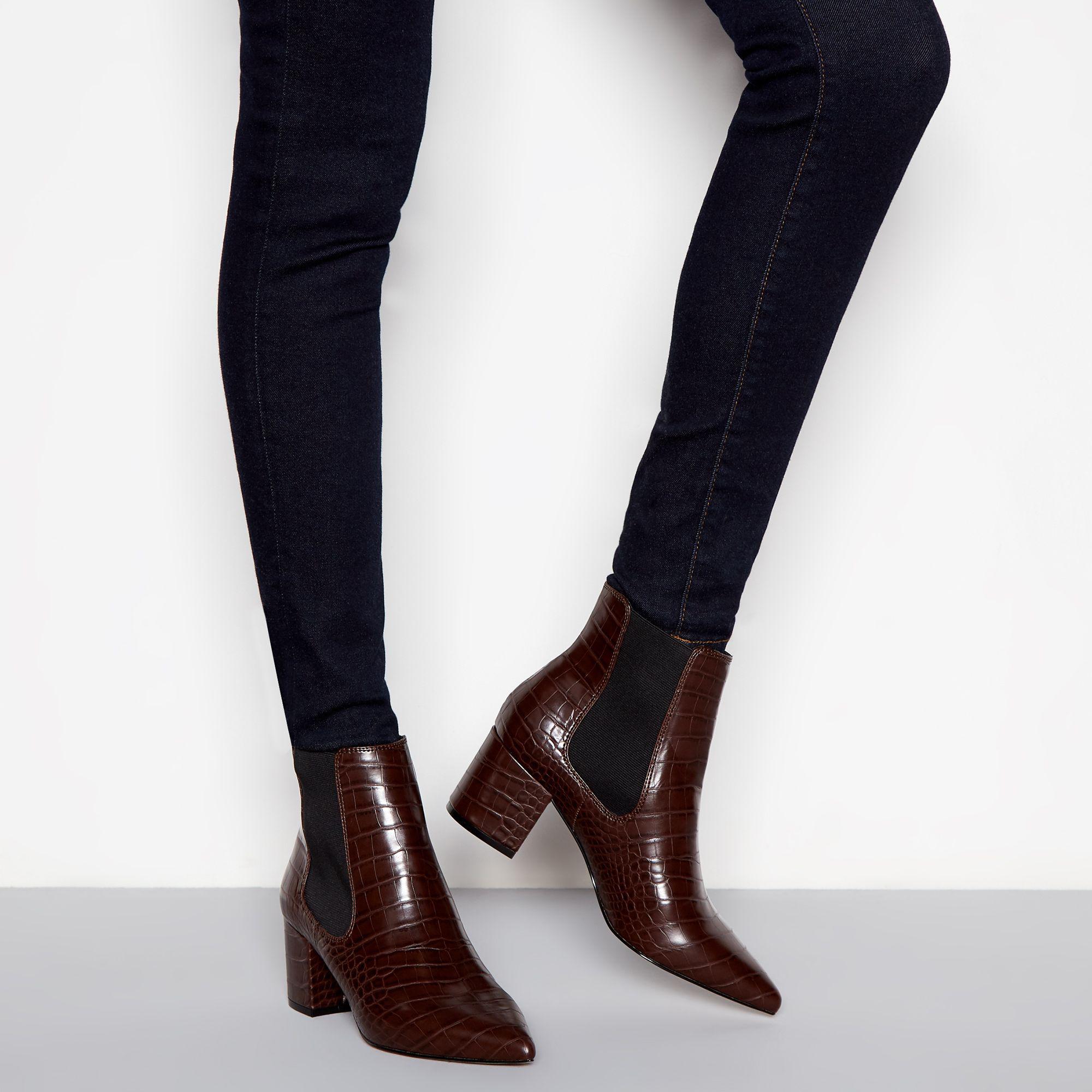 945d89c185f J By Jasper Conran Dark Brown Croc-effect Block Heel Chelsea Boots ...