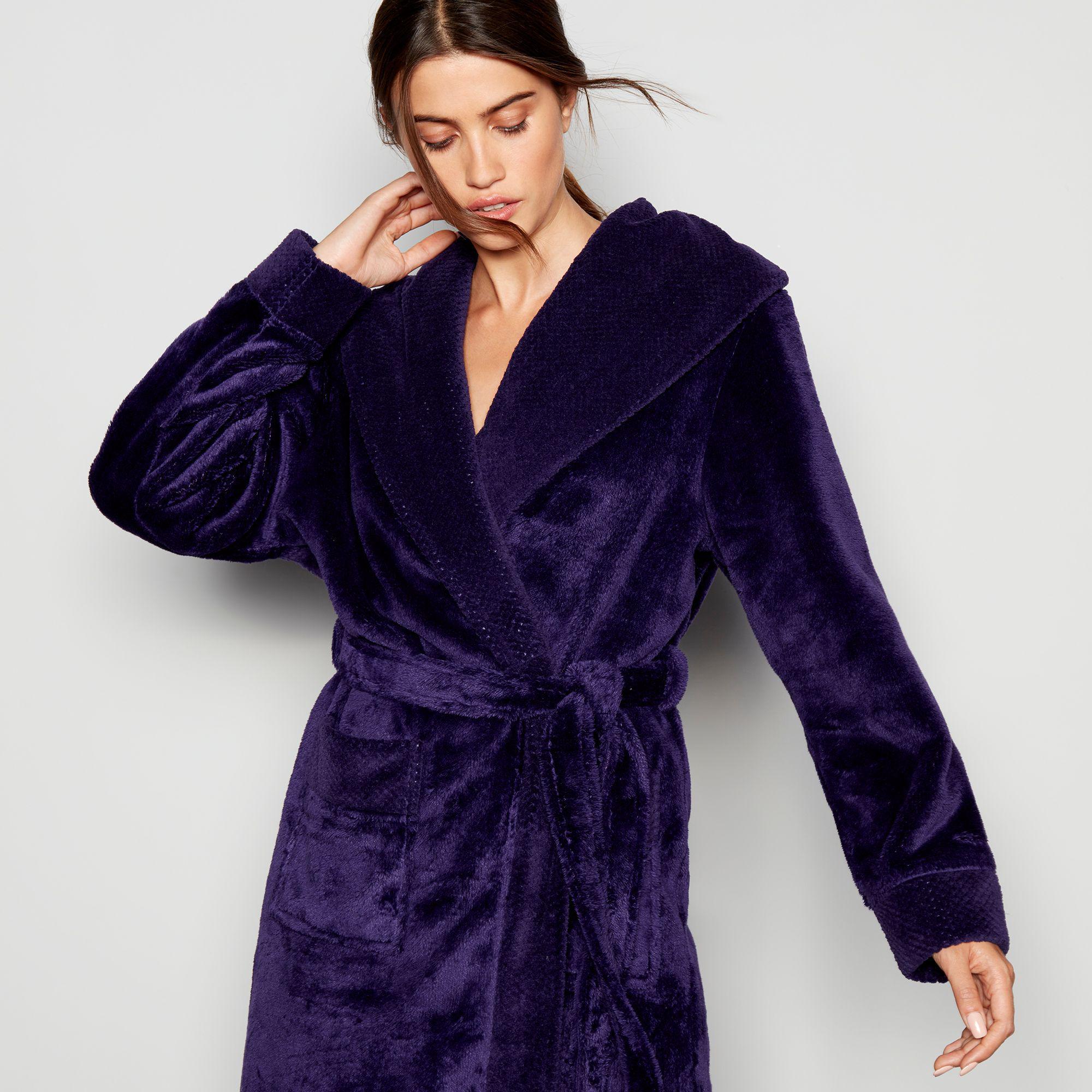 J By Jasper Conran Dark Purple Waffle Trim Dressing Gown In Purple