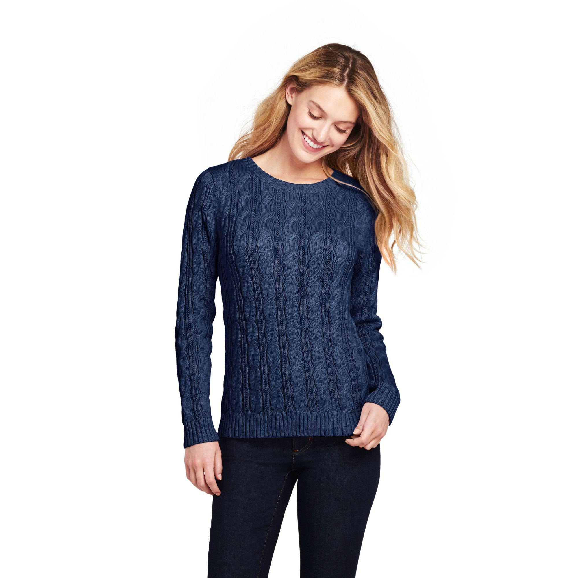 012931ef6591 Lands  End Blue Womens Cotton Cable Crew Neck Jumper in Blue - Lyst