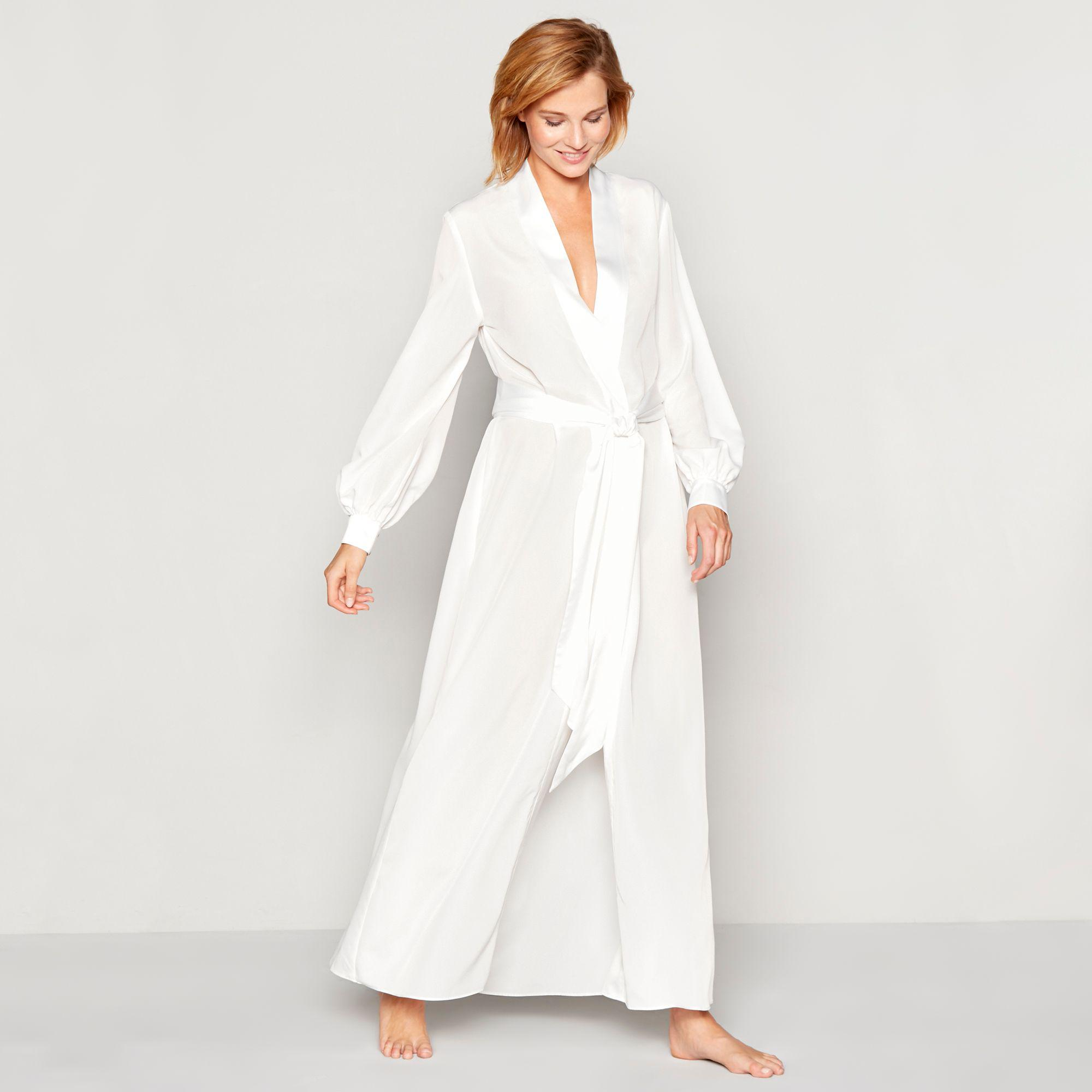 Jenny Packham Ivory Bridal Chiffon Satin Dressing Gown in White - Lyst 29710db6c