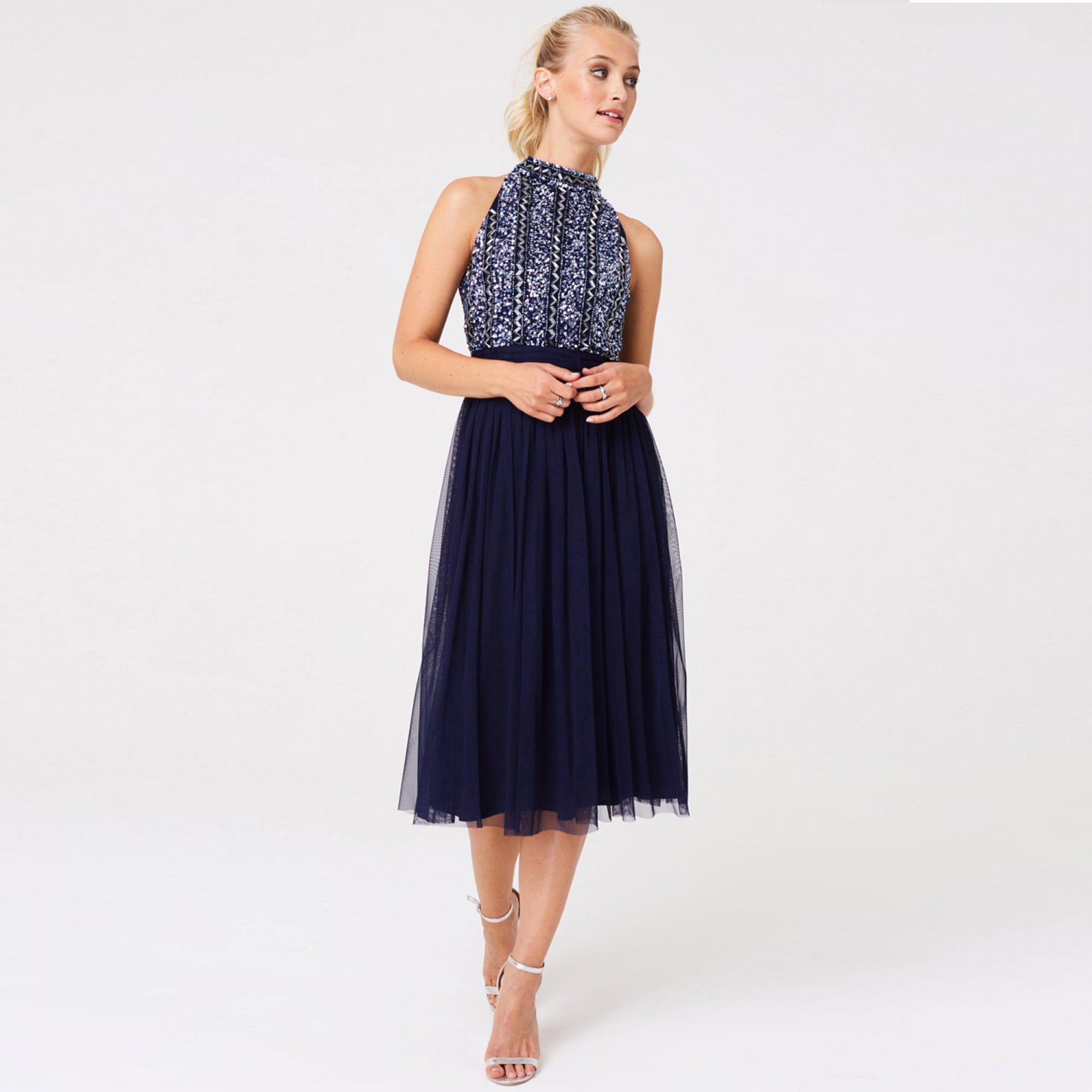 24fe60099db Little Mistress Navy Luxury Charli Navy Hand Embellished Midi Dress ...
