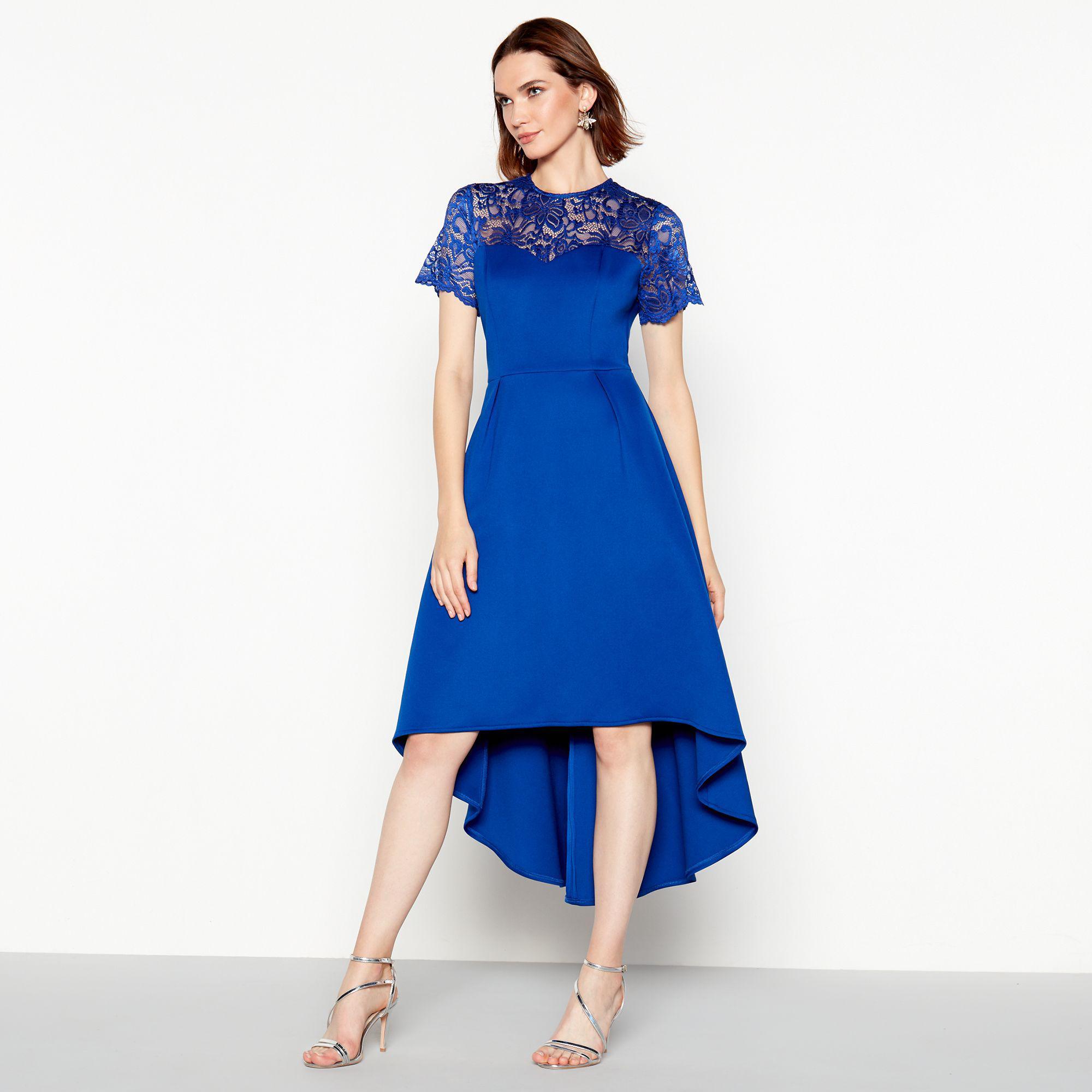 8a3ea70232 Début Bright Blue Lace Scuba  siena  High Low Prom Dress in Blue ...