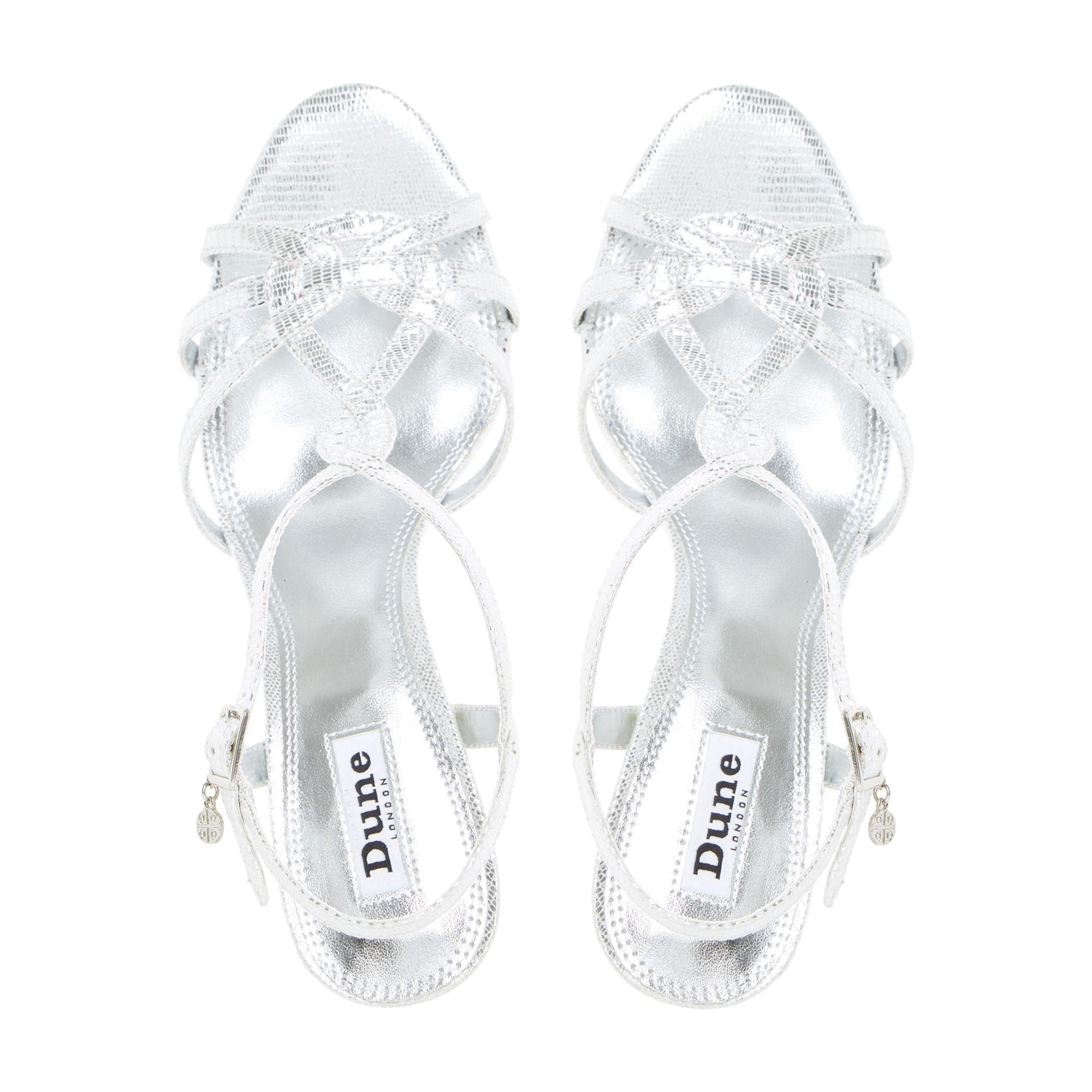 44c6dbb115a Dune Silver  miniee  Strappy Mid Heel Sandals in Metallic - Lyst