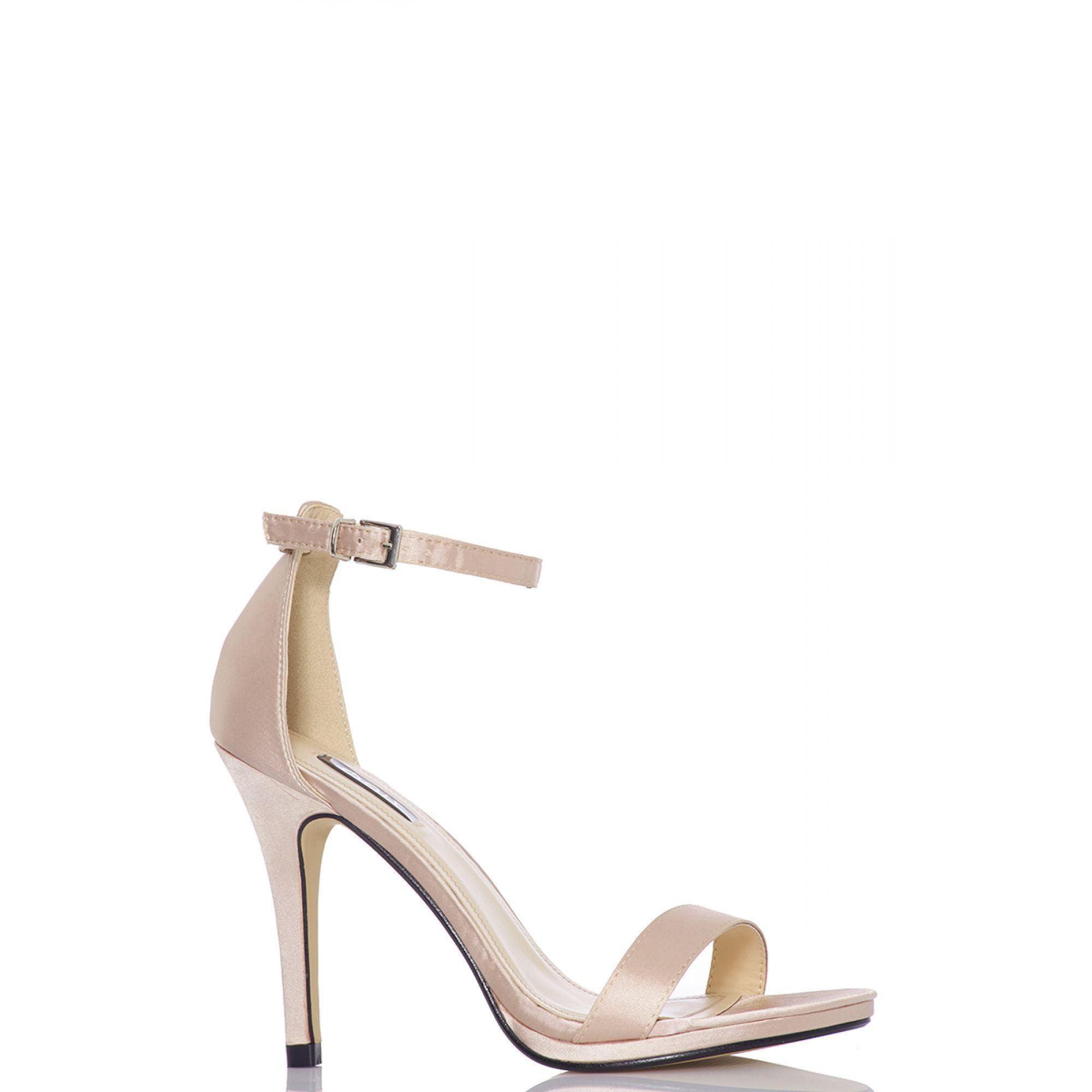 0f12eed4619 Quiz Nude Satin Barely There Heel Sandals in Natural - Lyst