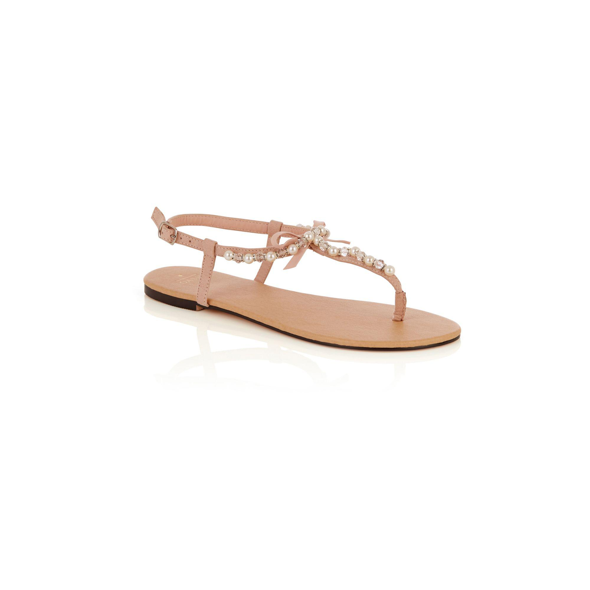 9c28b49683b9 Oasis Pale Pink Pearl Bow Toe Posts Sandals in Pink - Lyst