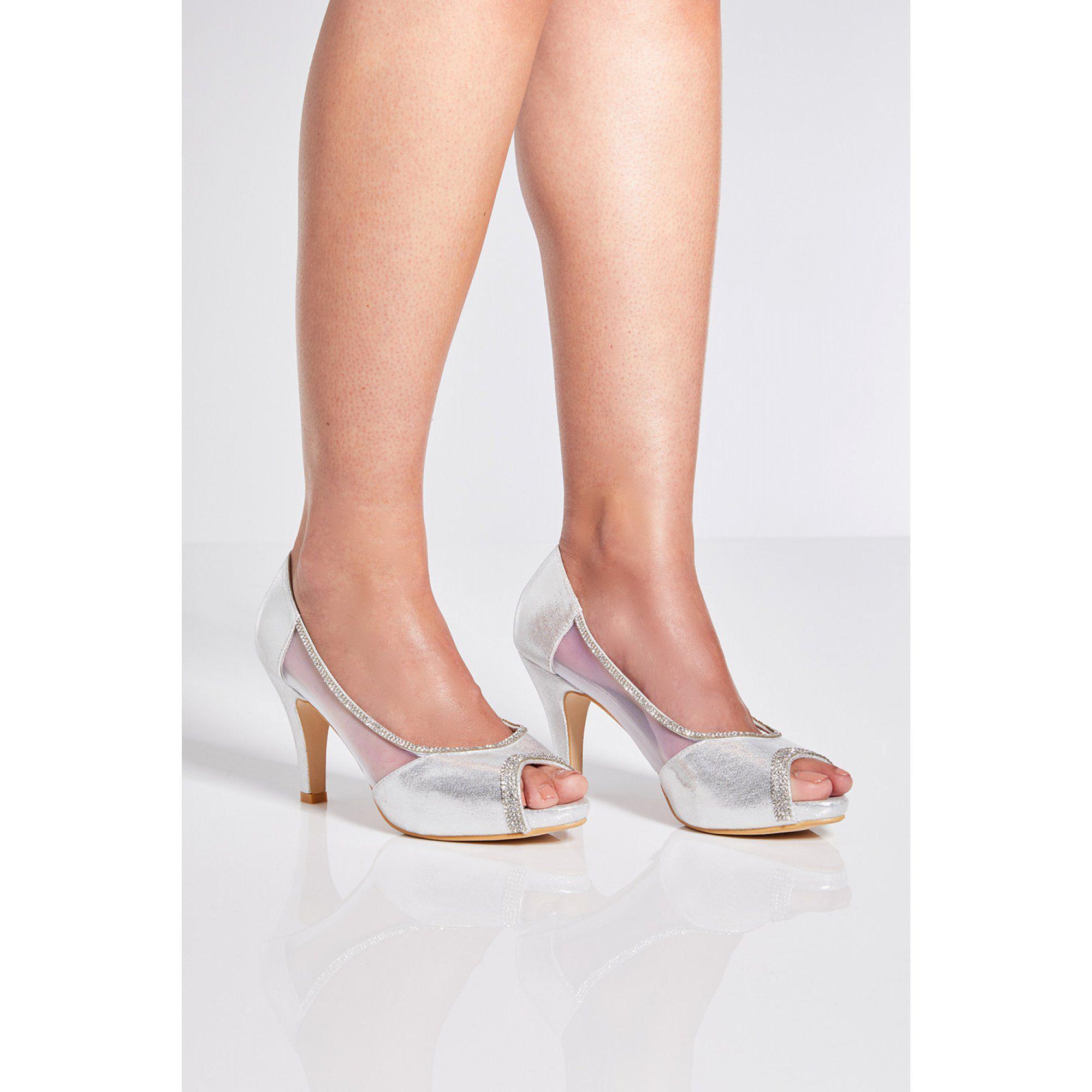 8de06053e2a Quiz Silver Shimmer Peep Toe Low Heel Shoes in Metallic - Lyst