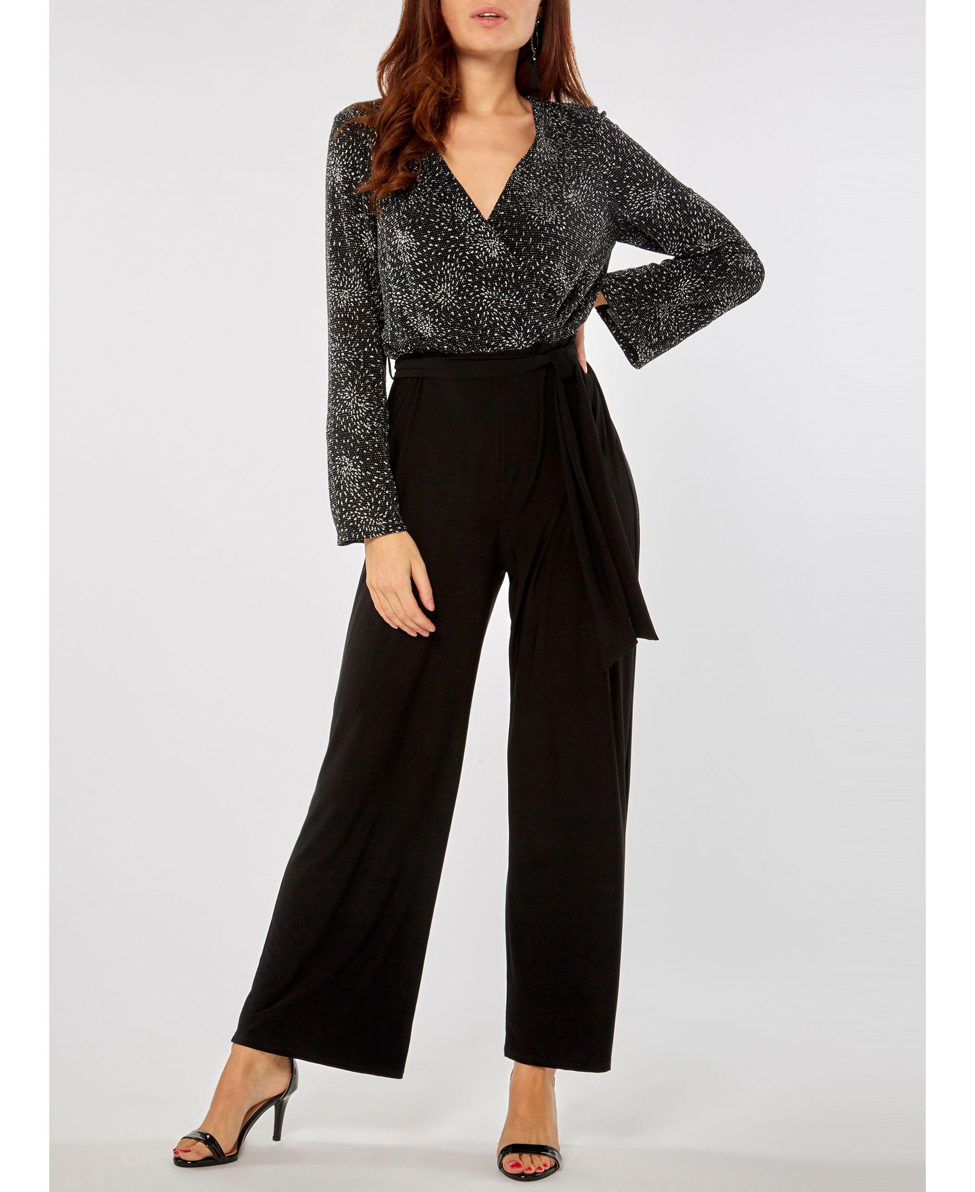69cf0b3eee01 Dorothy Perkins Black And Sliver Glitter Top Jumpsuit in Black - Lyst