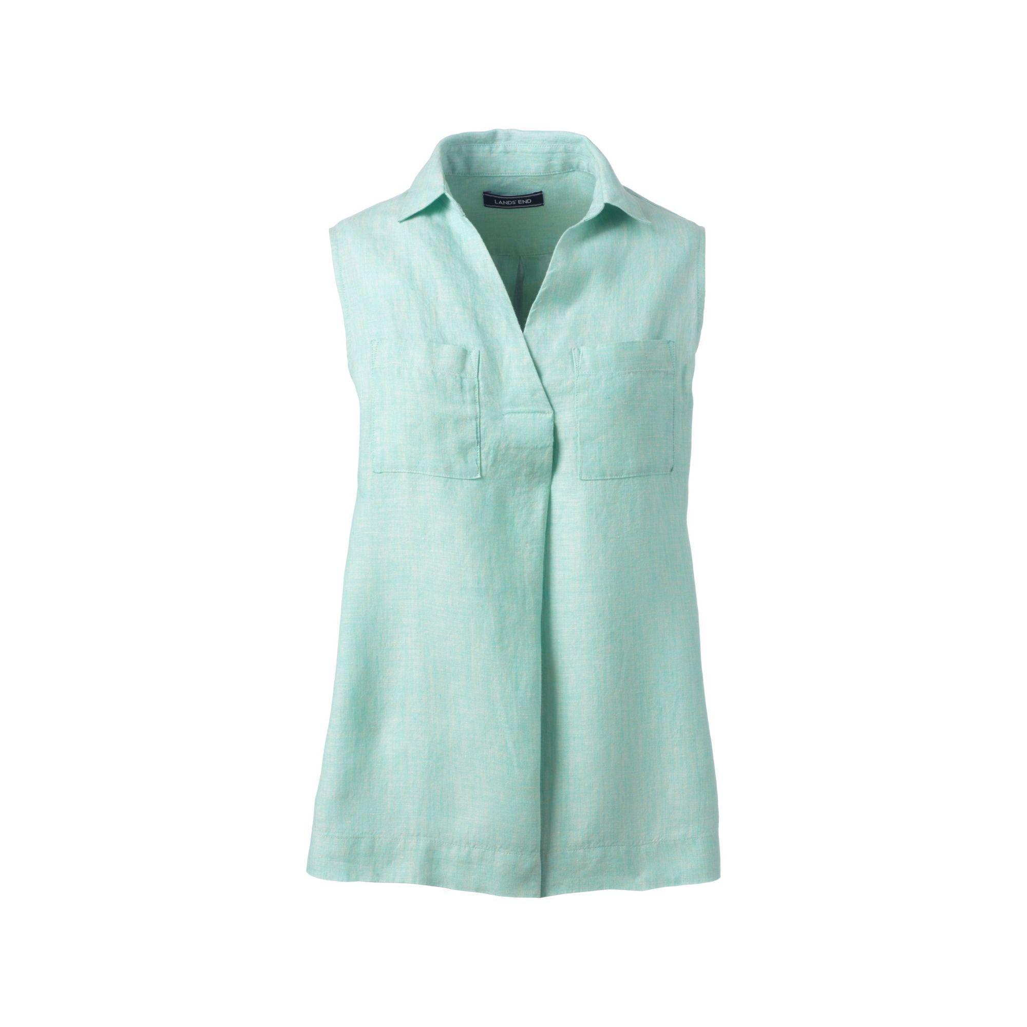 7c64fa34c17d43 Lands  End Blue Womens Sleeveless Linen Top in Blue - Lyst