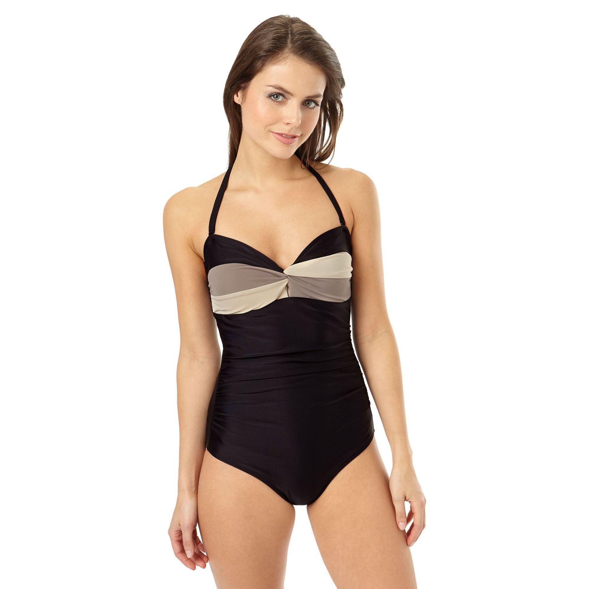 51c9ff6c13 Phase Eight Black And Mocha Colourblock Swimsuit in Black - Lyst